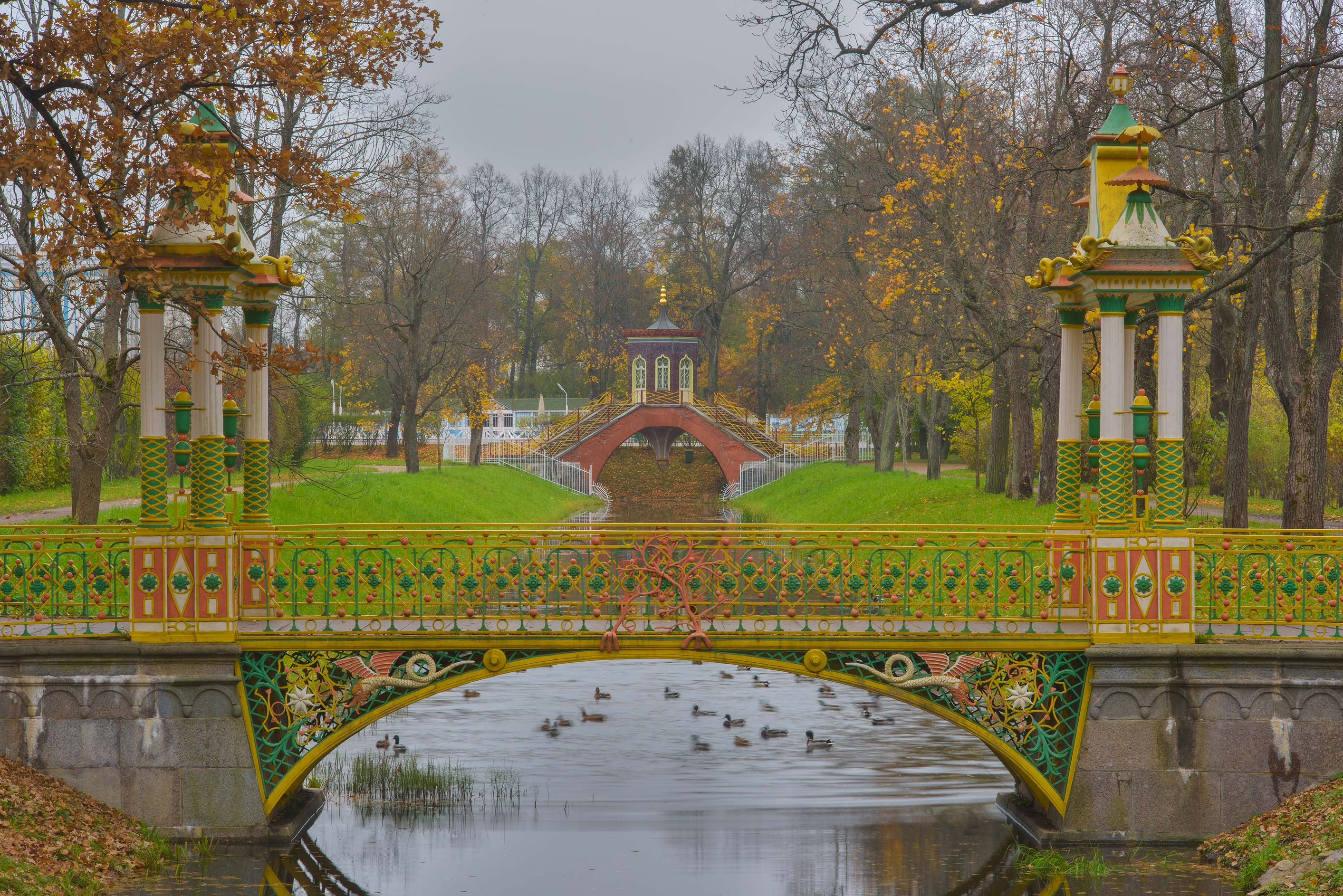 Chinese and Cross bridges in Alexander Palace...Selo) near St.Petersburg, Russia