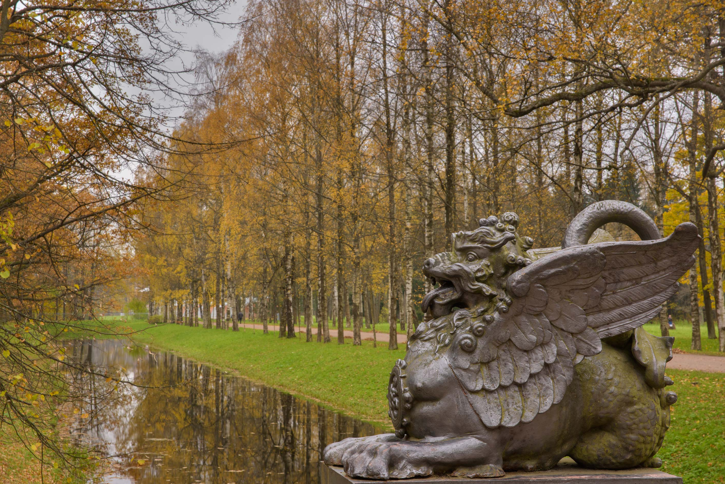 Dragon on Chinese Bridge in Alexander Park...Selo) near St.Petersburg, Russia