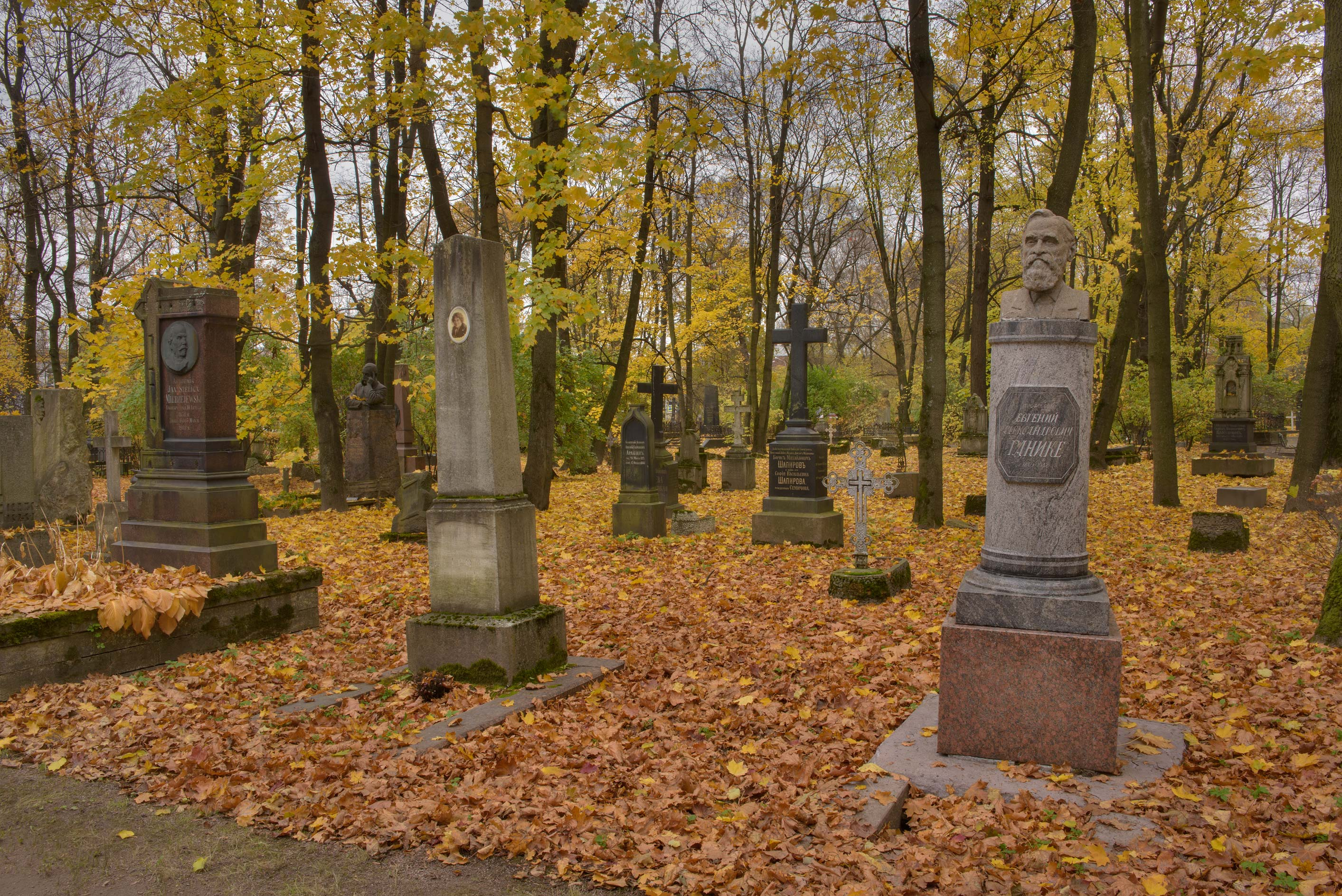 Tombs in Literatorskie Mostki section of Volkovo Cemetery. St.Petersburg, Russia
