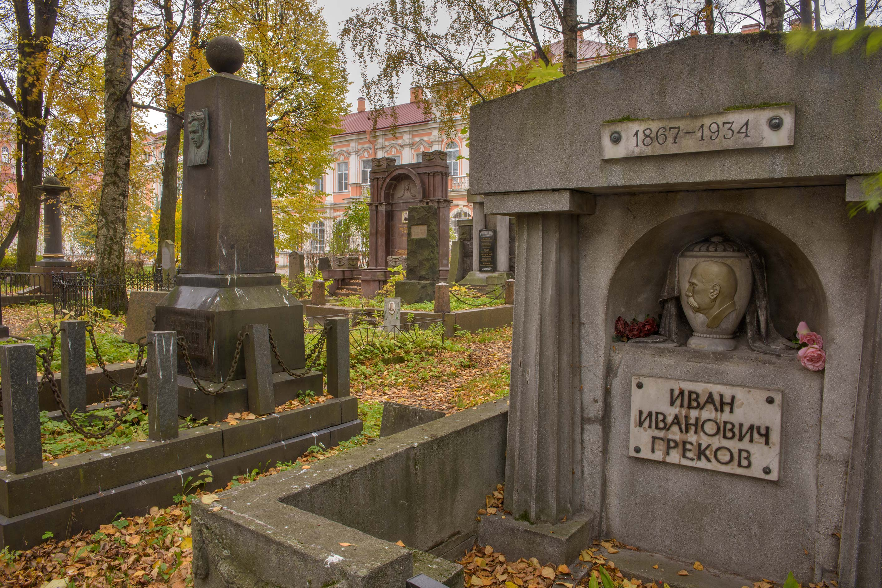 Tomb of I. I. Grekov in Communist section of Alexander Nevsky Lavra. St.Petersburg, Russia
