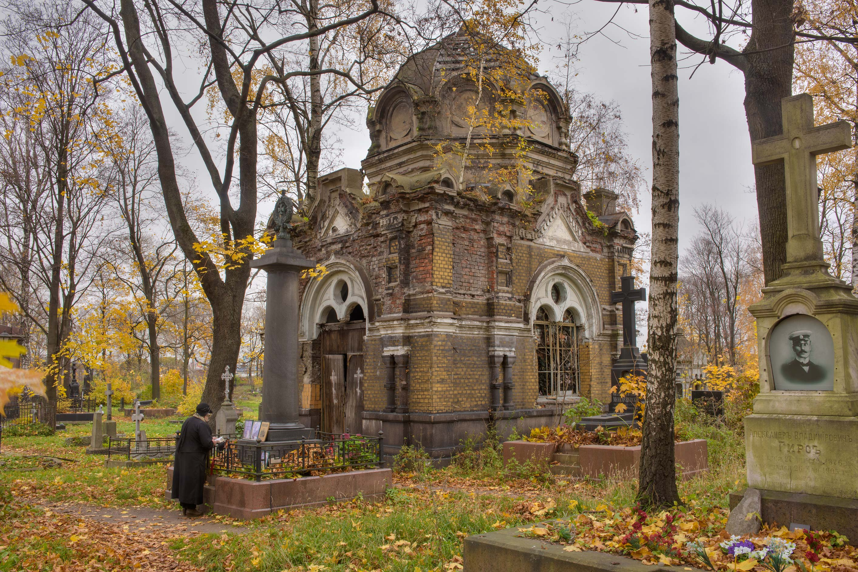 Stone mausoleum in Nikolskoe Cemetery of Alexander Nevsky Lavra. St.Petersburg, Russia