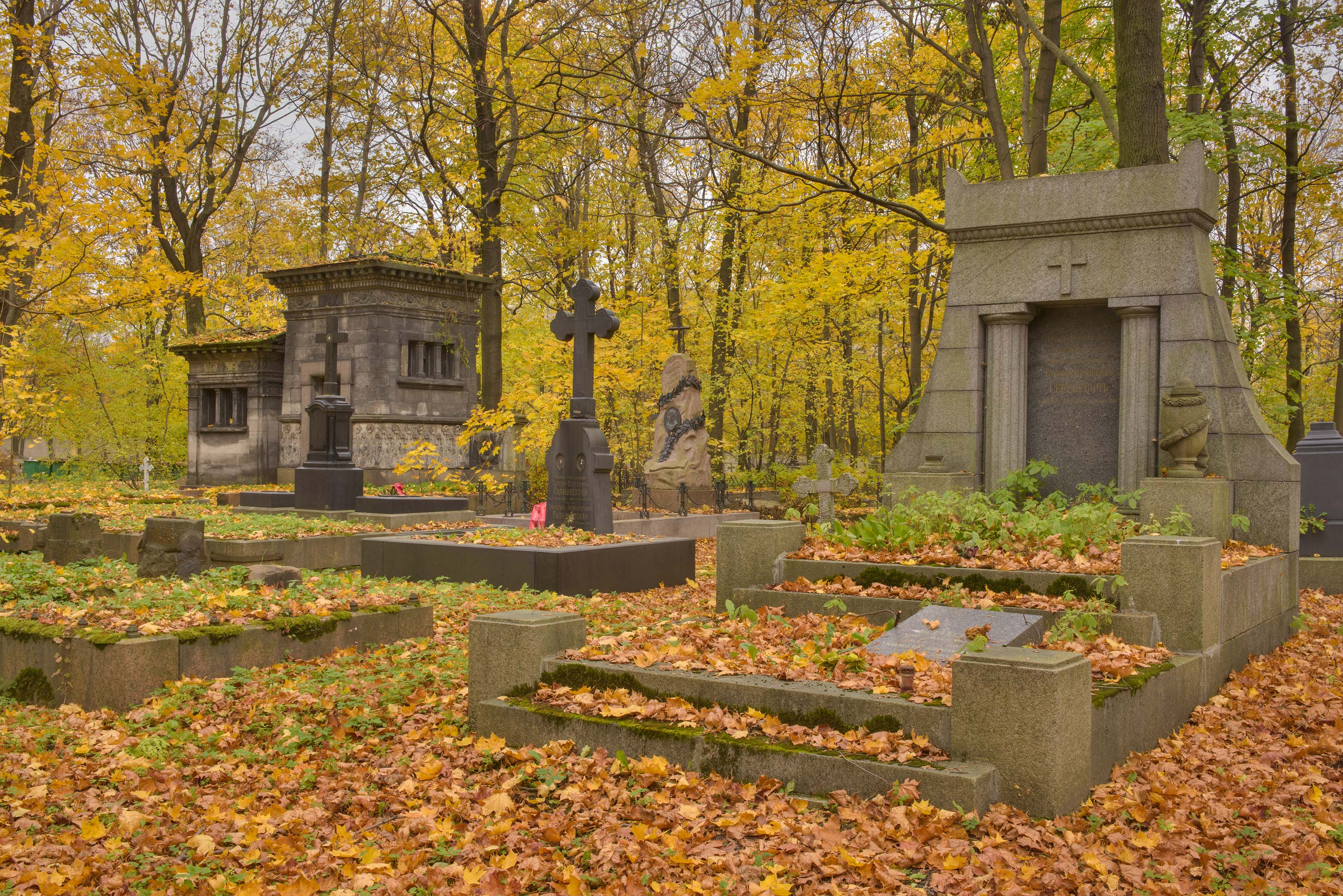 Tomb of V. I. Sergeevich in Novodevichye Cemetery...Prospect. St.Petersburg, Russia