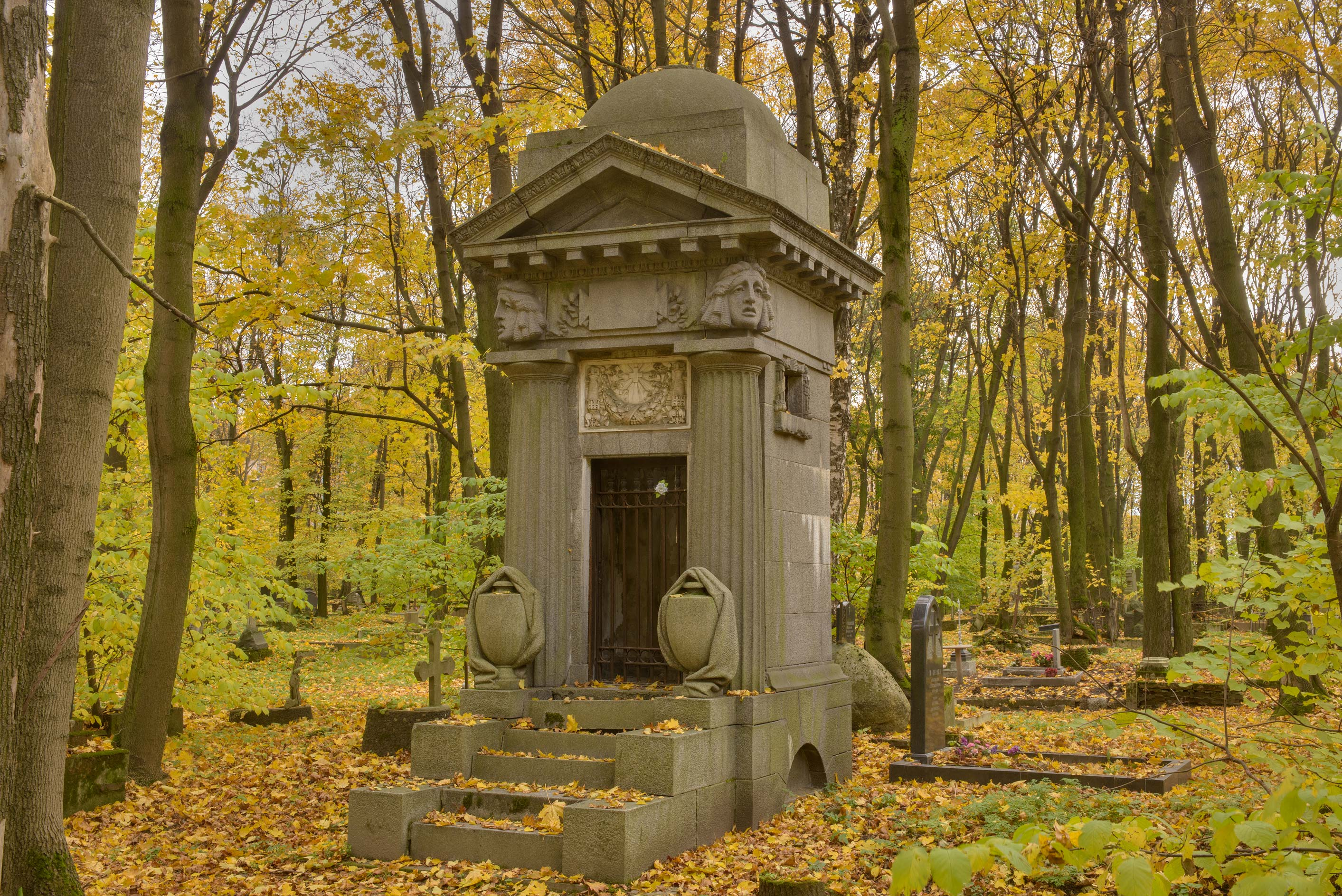 Unmarked grey mausoleum in Novodevichye Cemetery...Prospect. St.Petersburg, Russia