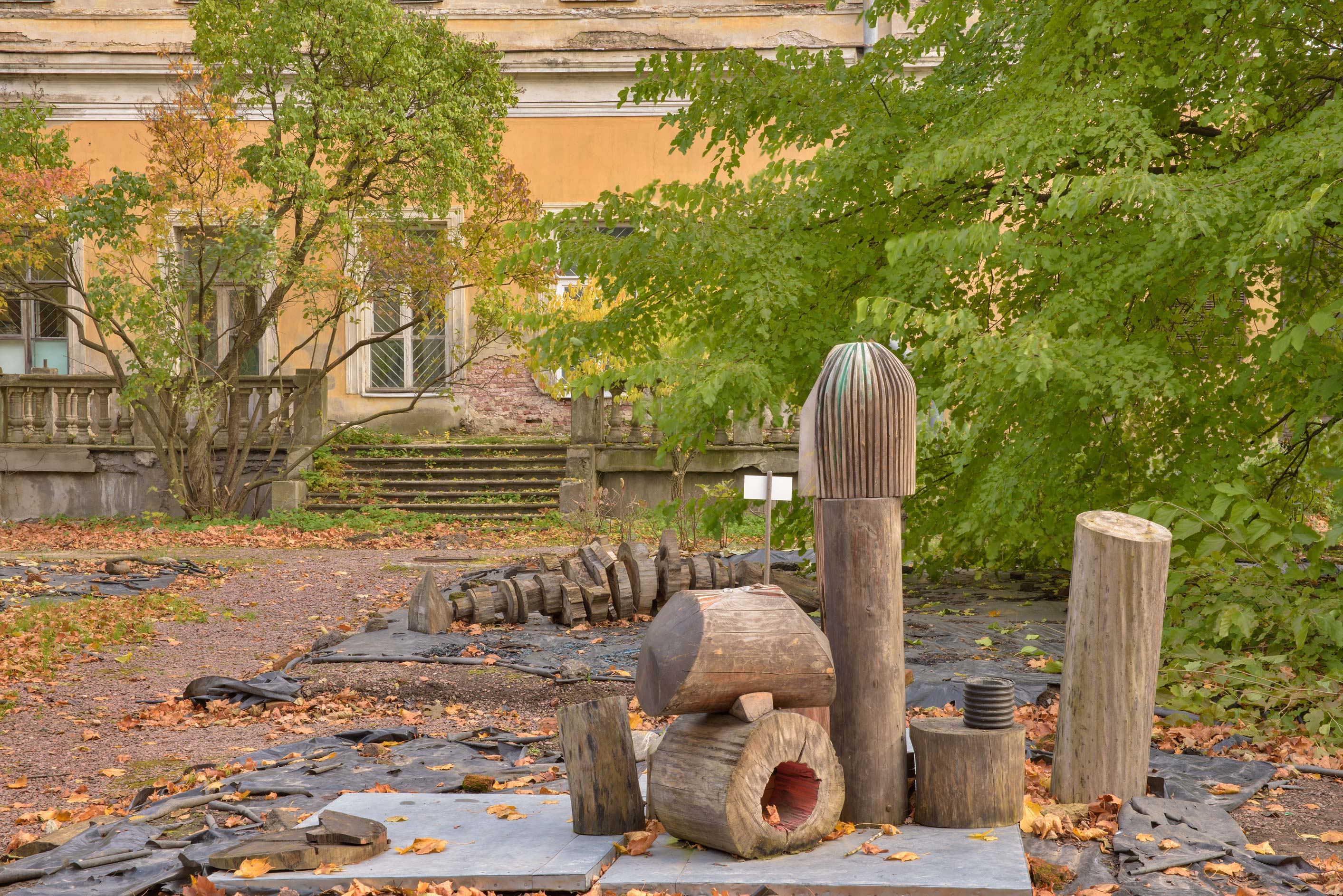 Wooden sculptures in Botanic Gardens of Komarov Botanical Institute. St.Petersburg, Russia