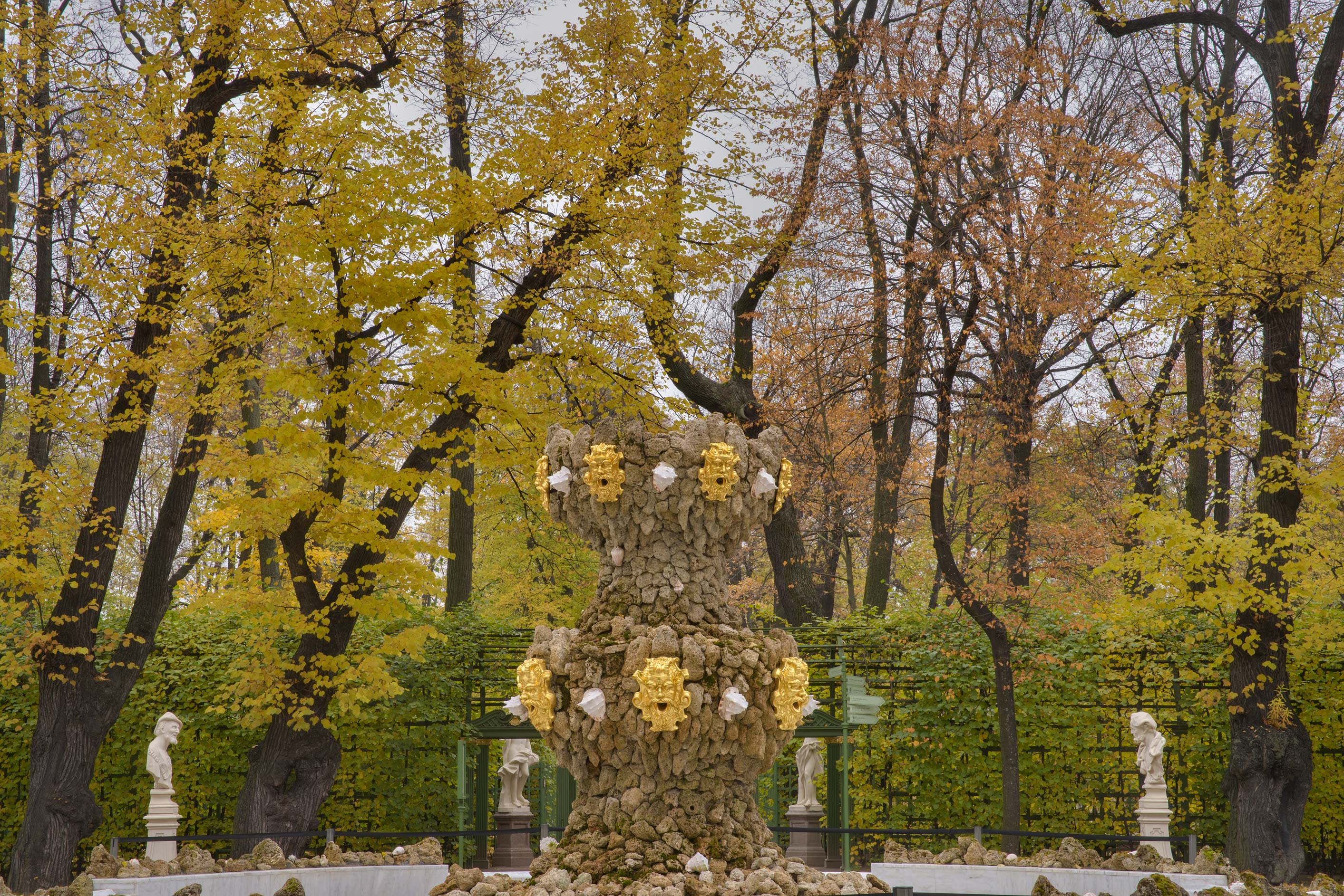 Fall colors of Grand Parterre in Letny Sad (Summer Garden). St.Petersburg, Russia