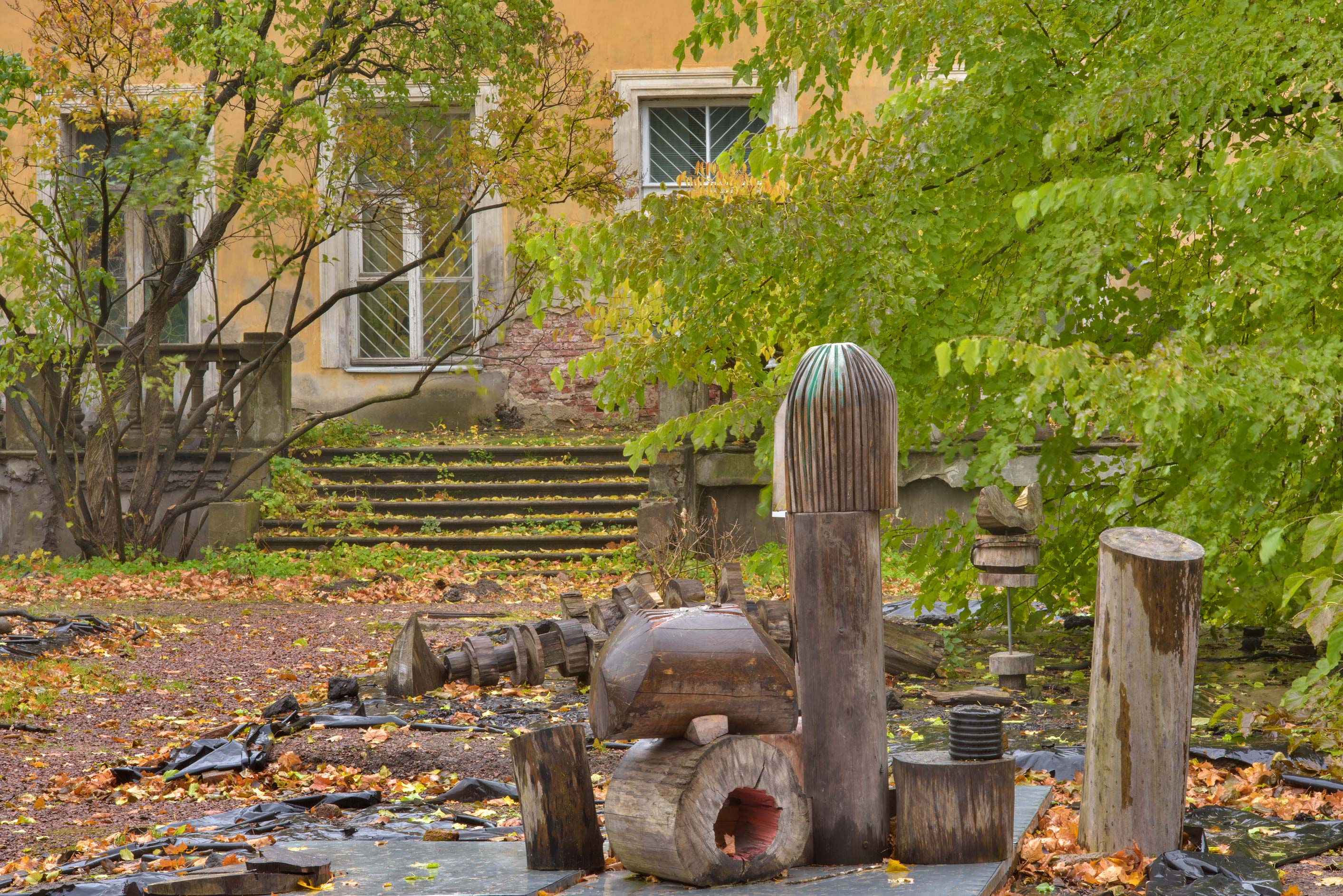 Phallic sculptures in Botanic Gardens of Komarov...Institute. St.Petersburg, Russia