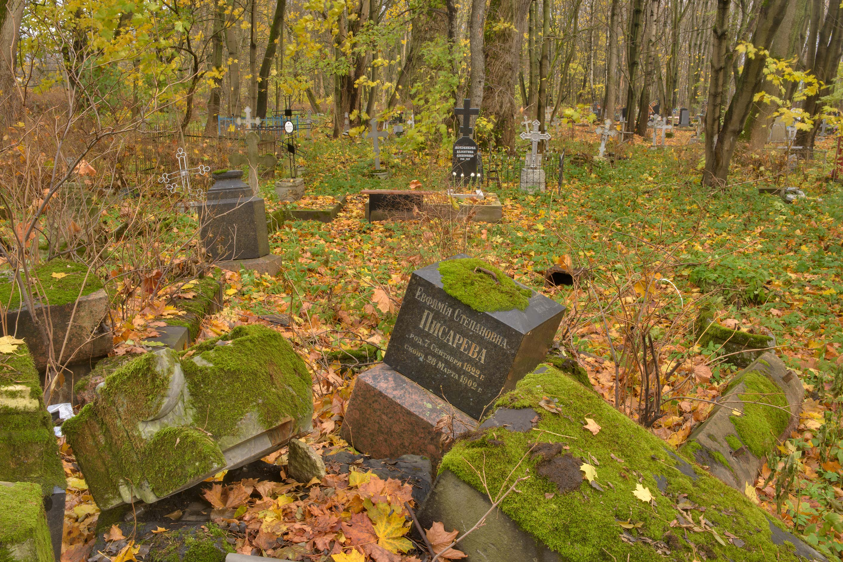 Granite tombstones on Krymskaya Lane in...Island. St.Petersburg, Russia