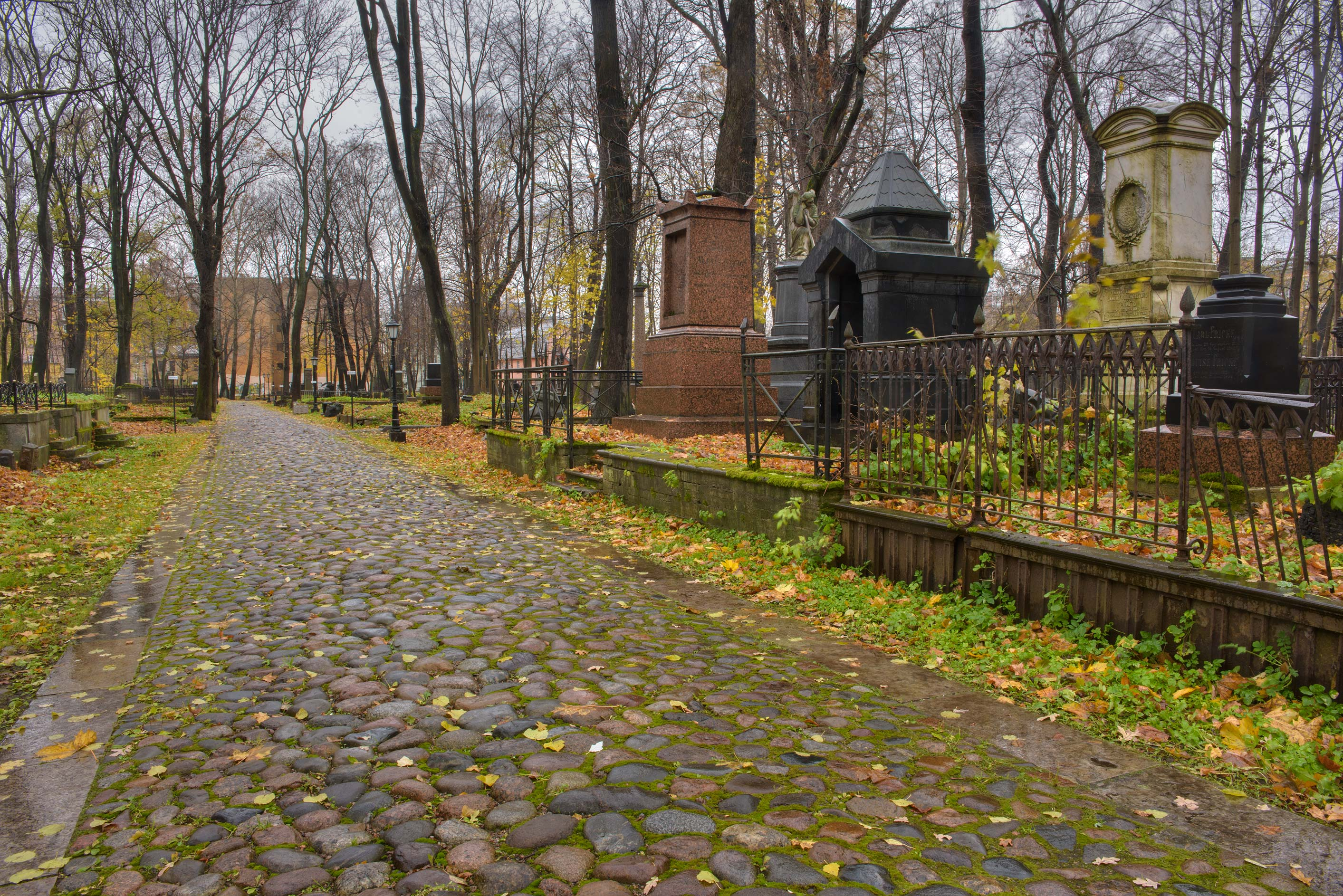 Large tombs in Smolenskoe Lutheran Cemetery on Dekabristov Island. St.Petersburg, Russia