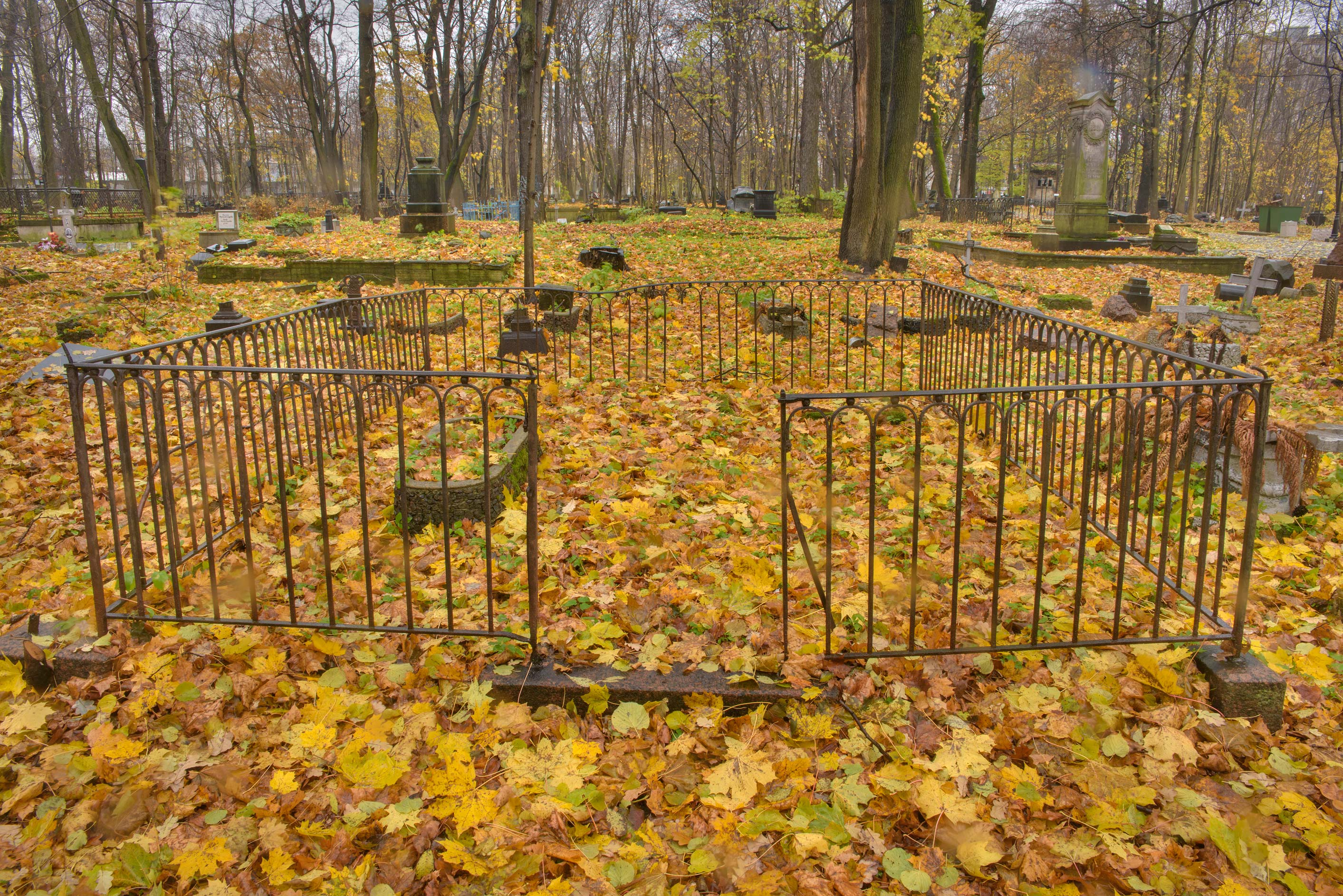 Empty fenced area in Smolenskoe Lutheran Cemetery...Island. St.Petersburg, Russia