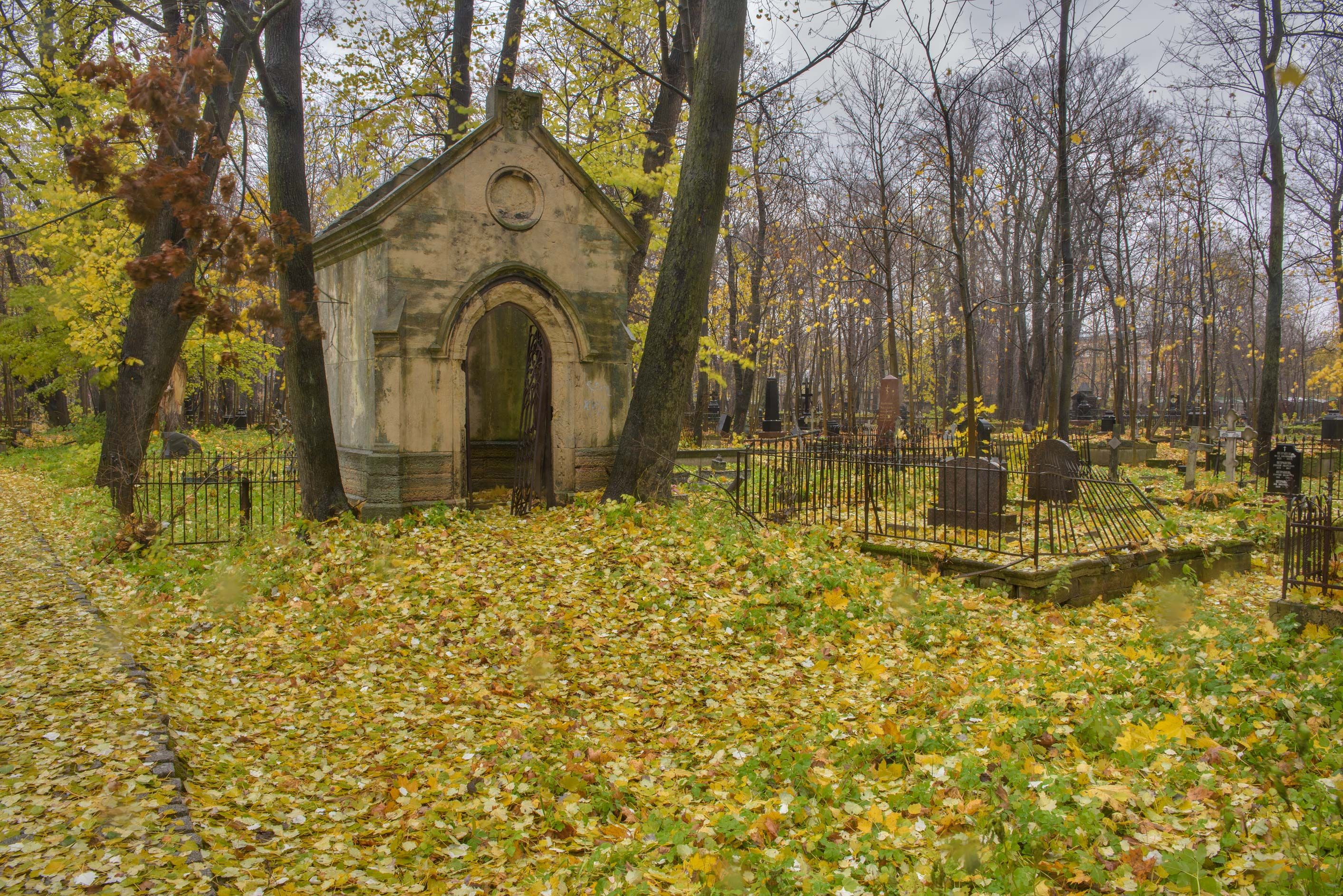 Old stone mausoleum in Smolenskoe Lutheran...Island. St.Petersburg, Russia