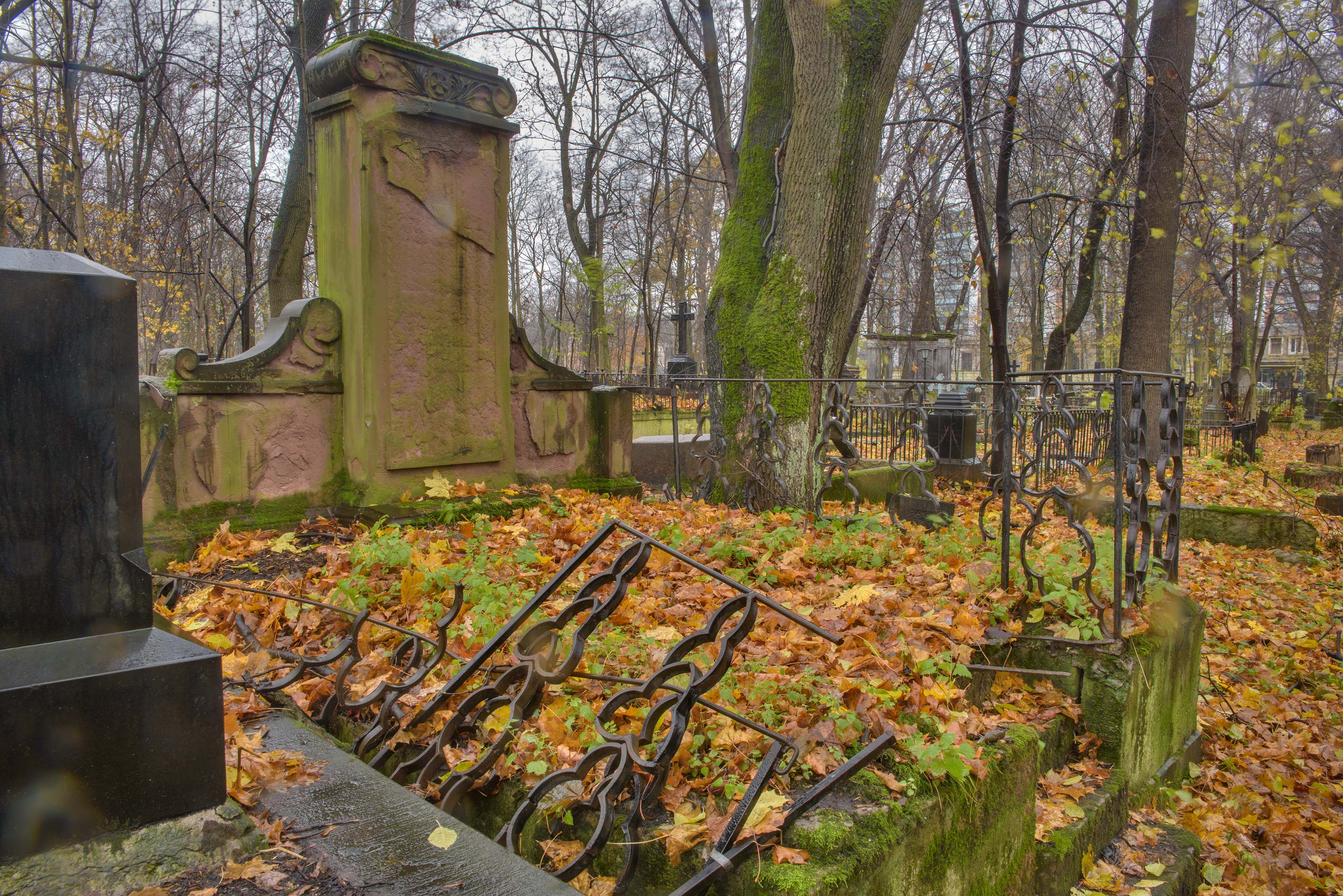 Large unmarked tomb in Smolenskoe Lutheran...Island. St.Petersburg, Russia
