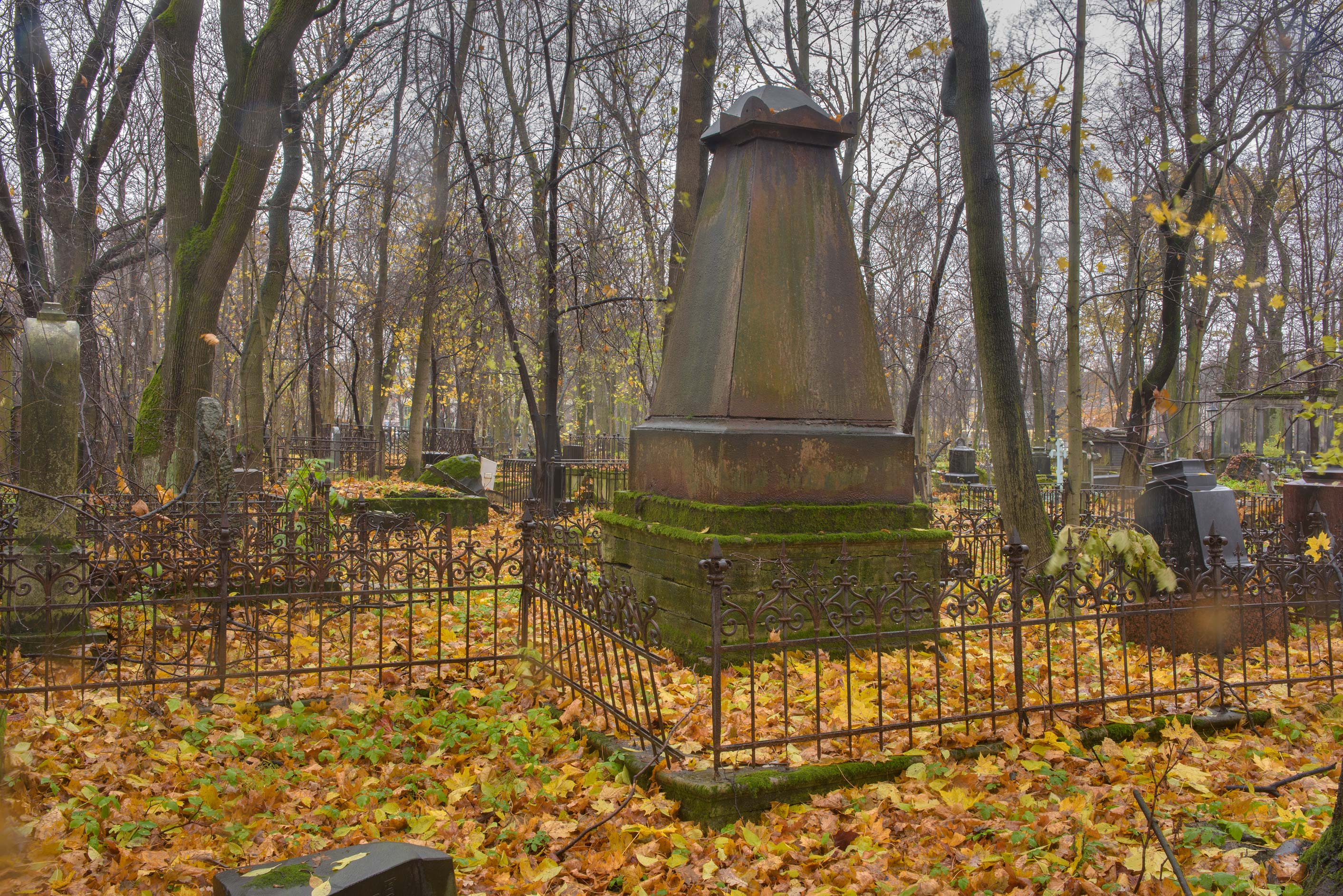 Iron tombstone in Smolenskoe Lutheran Cemetery on...Island. St.Petersburg, Russia