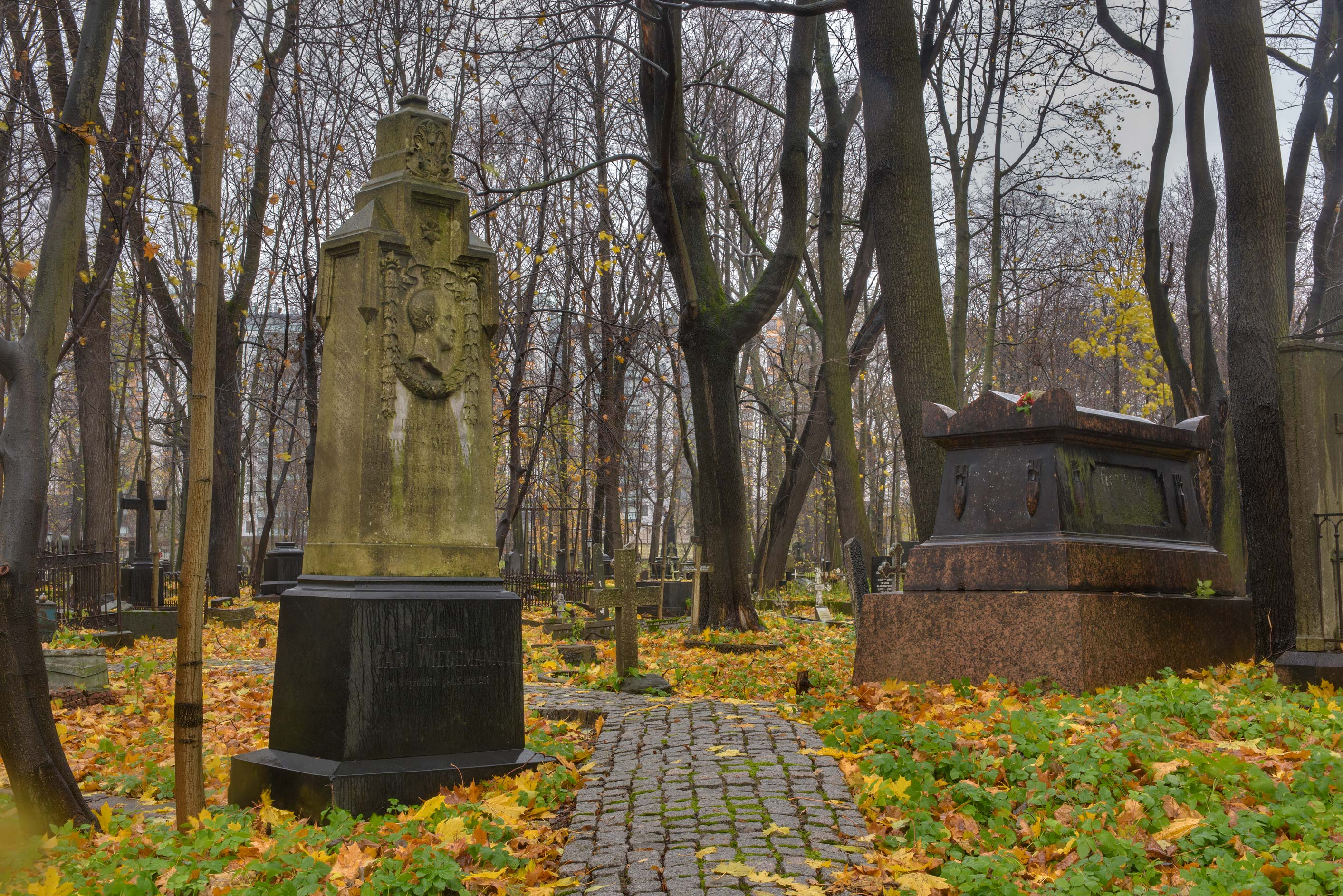 Tomb of Carl Weidemann in Smolenskoe Lutheran...Island. St.Petersburg, Russia