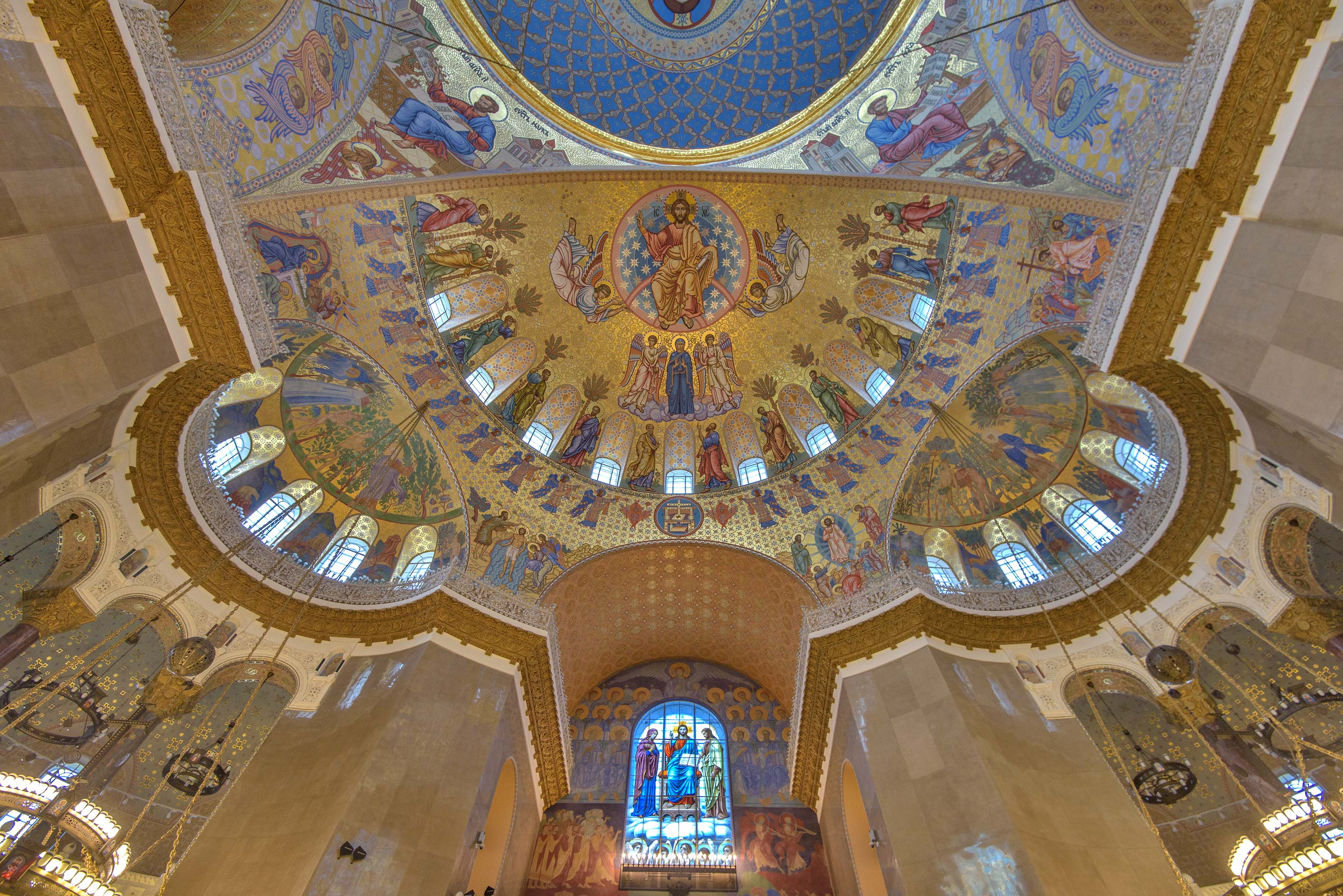 Ceiling of Naval Cathedral of St.Nicholas in Kronstadt. St.Petersburg, Russia
