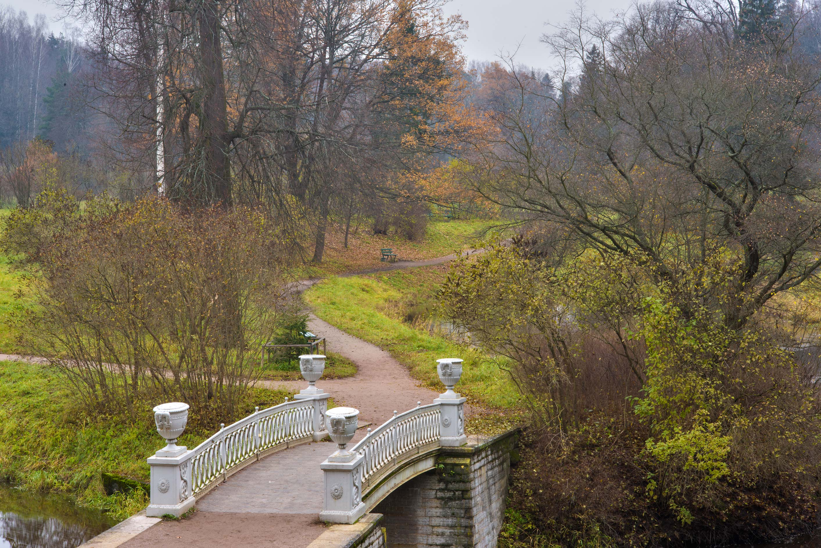 Iron bridge of Slavyanka River in Pavlovsk Park. Pavlovsk, suburb of St.Petersburg, Russia