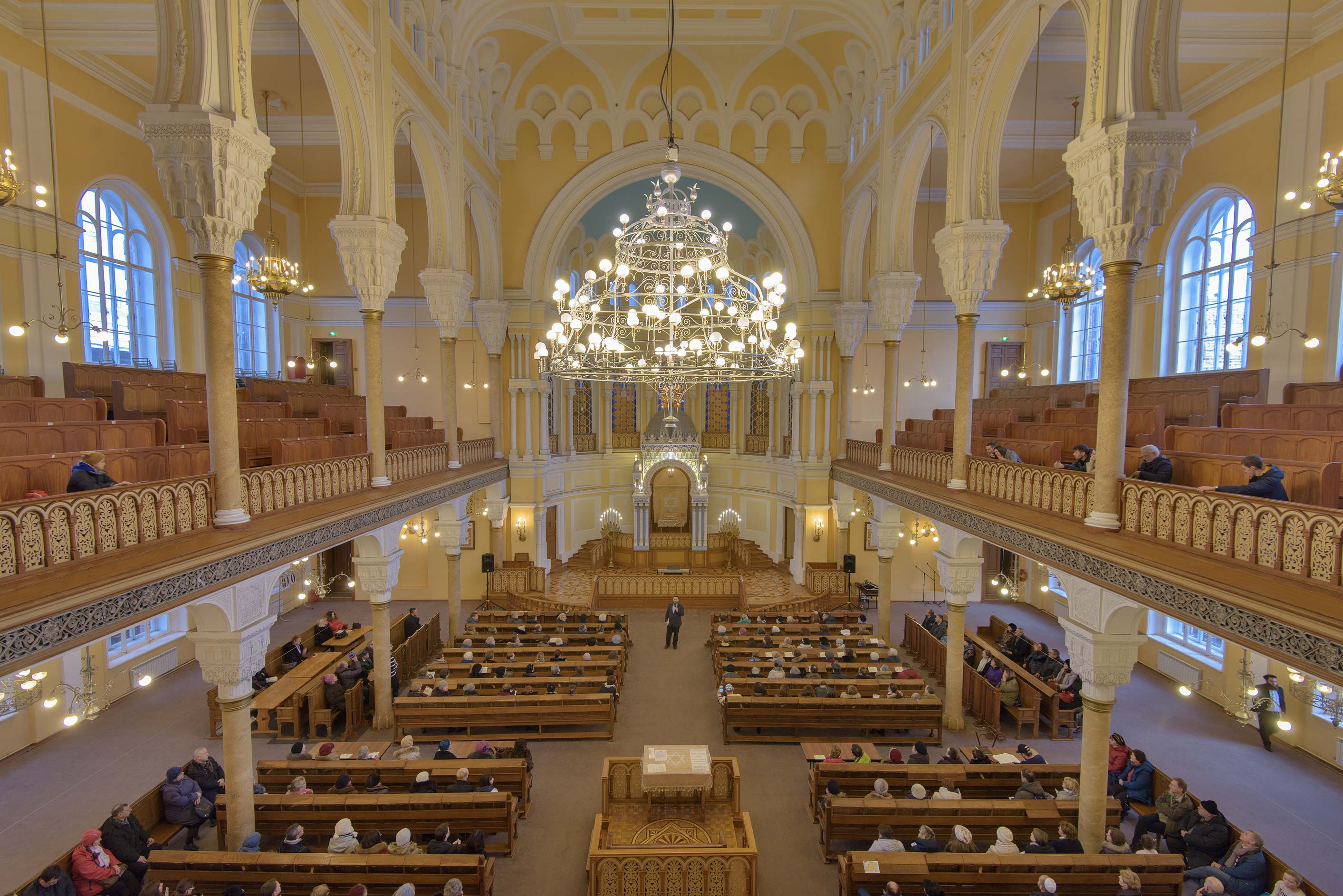 Main Prayer Hall from second floor of Grand Choral Synagogue. St.Petersburg, Russia