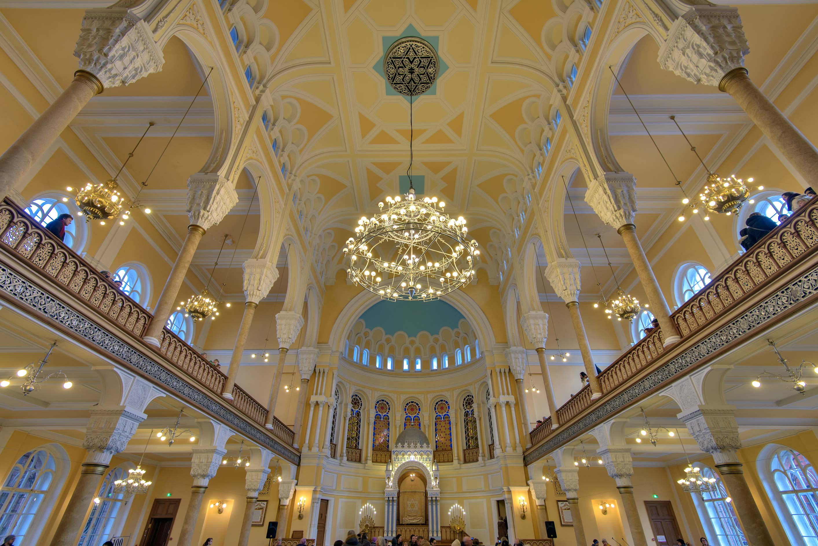 Galleries of Main Prayer Hall of Grand Choral Synagogue. St.Petersburg, Russia