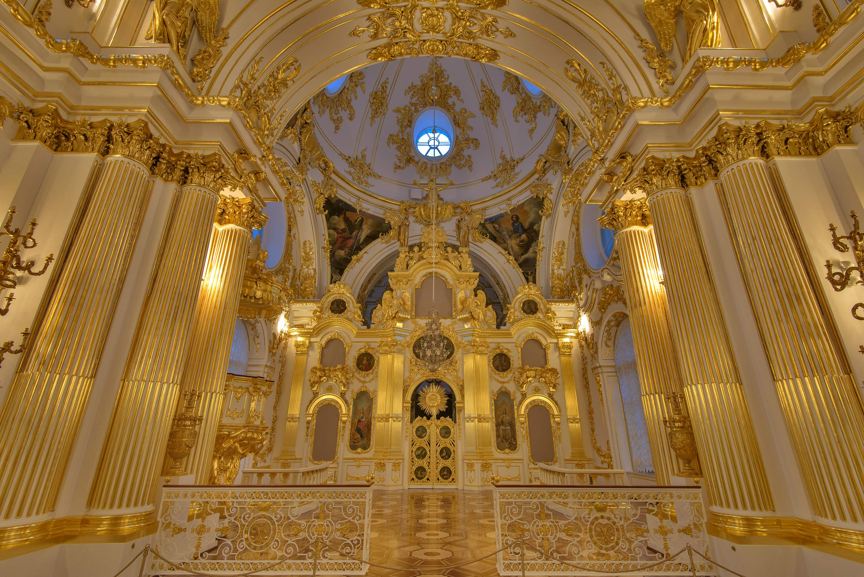 Prayer hall of a church of Winter Palace in Hermitage Museum. St.Petersburg, Russia