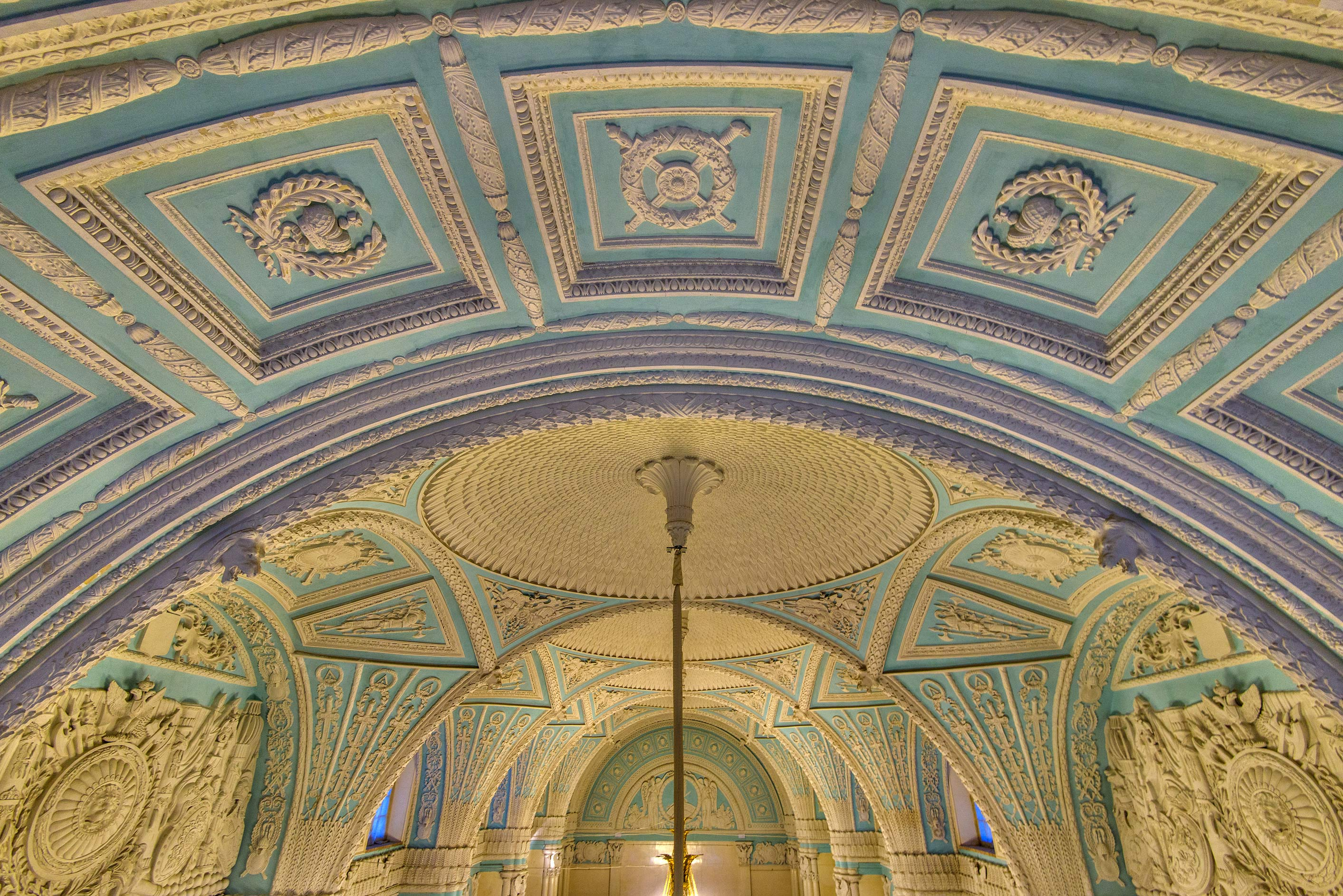 Arched blue ceiling in Hermitage Museum. St.Petersburg, Russia