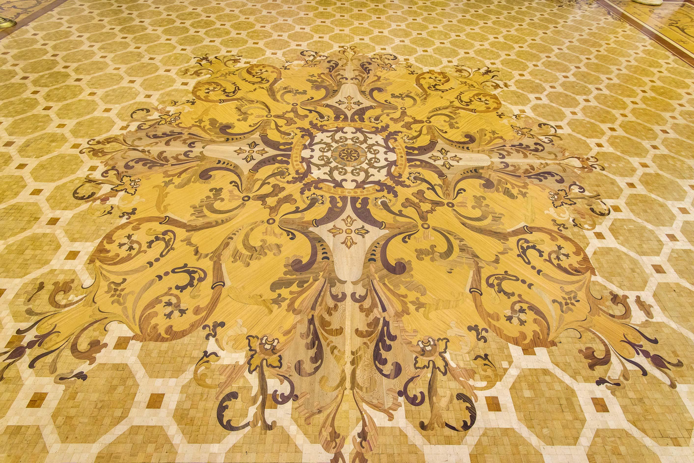 Pattern on parquet floor in Hermitage Museum. St.Petersburg, Russia