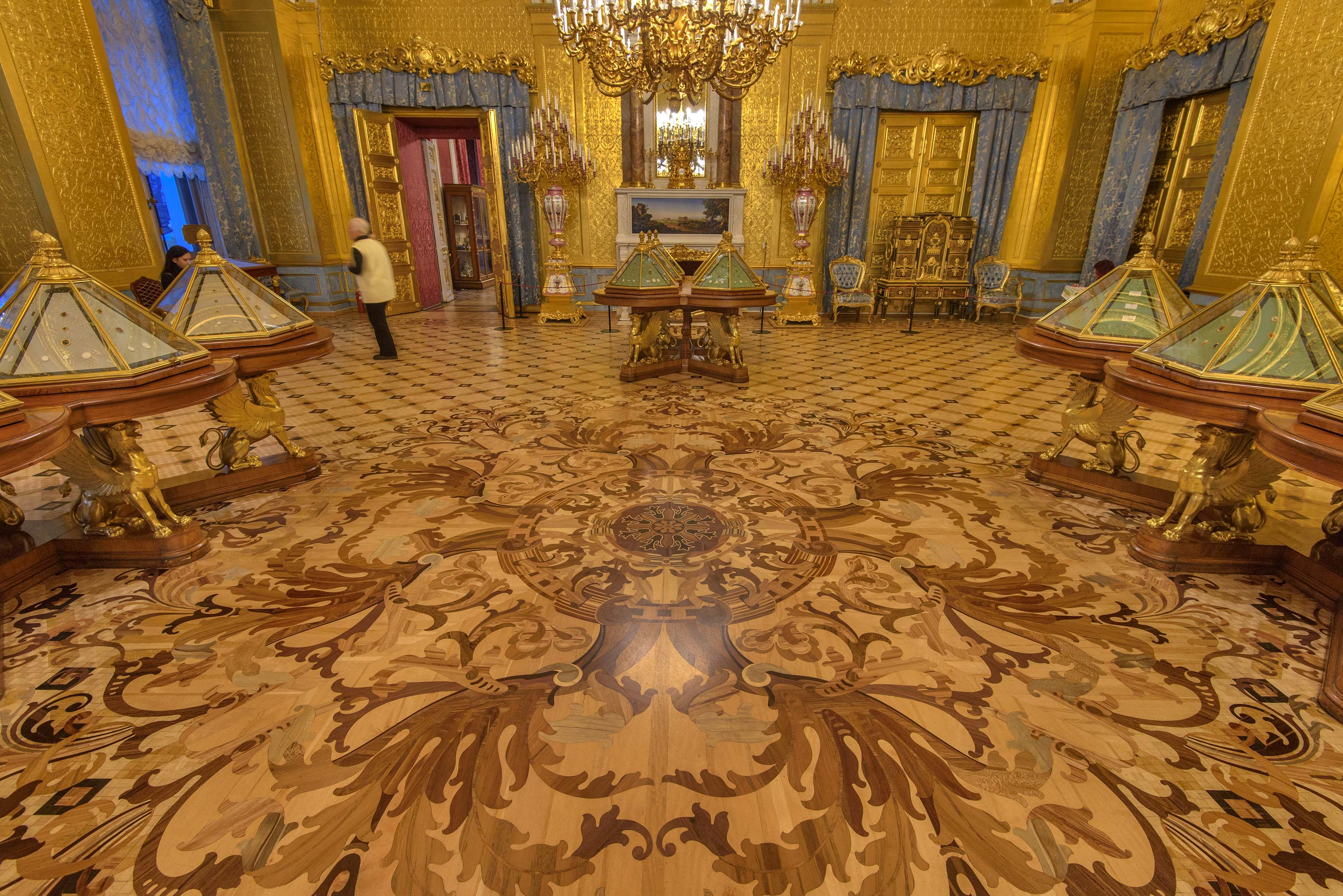 Parquet floor of gold drawing room in Hermitage Museum. St.Petersburg, Russia