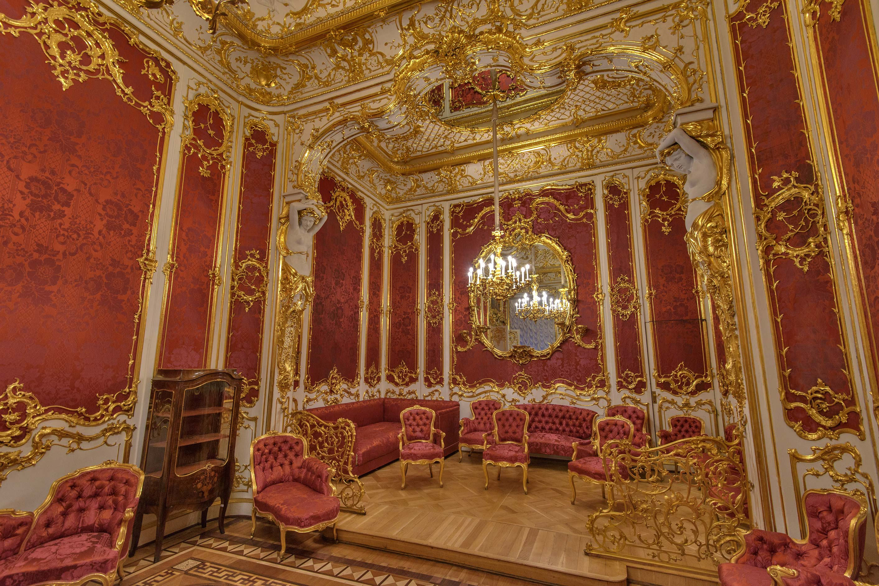 Chairs of crimson room in Hermitage Museum. St.Petersburg, Russia