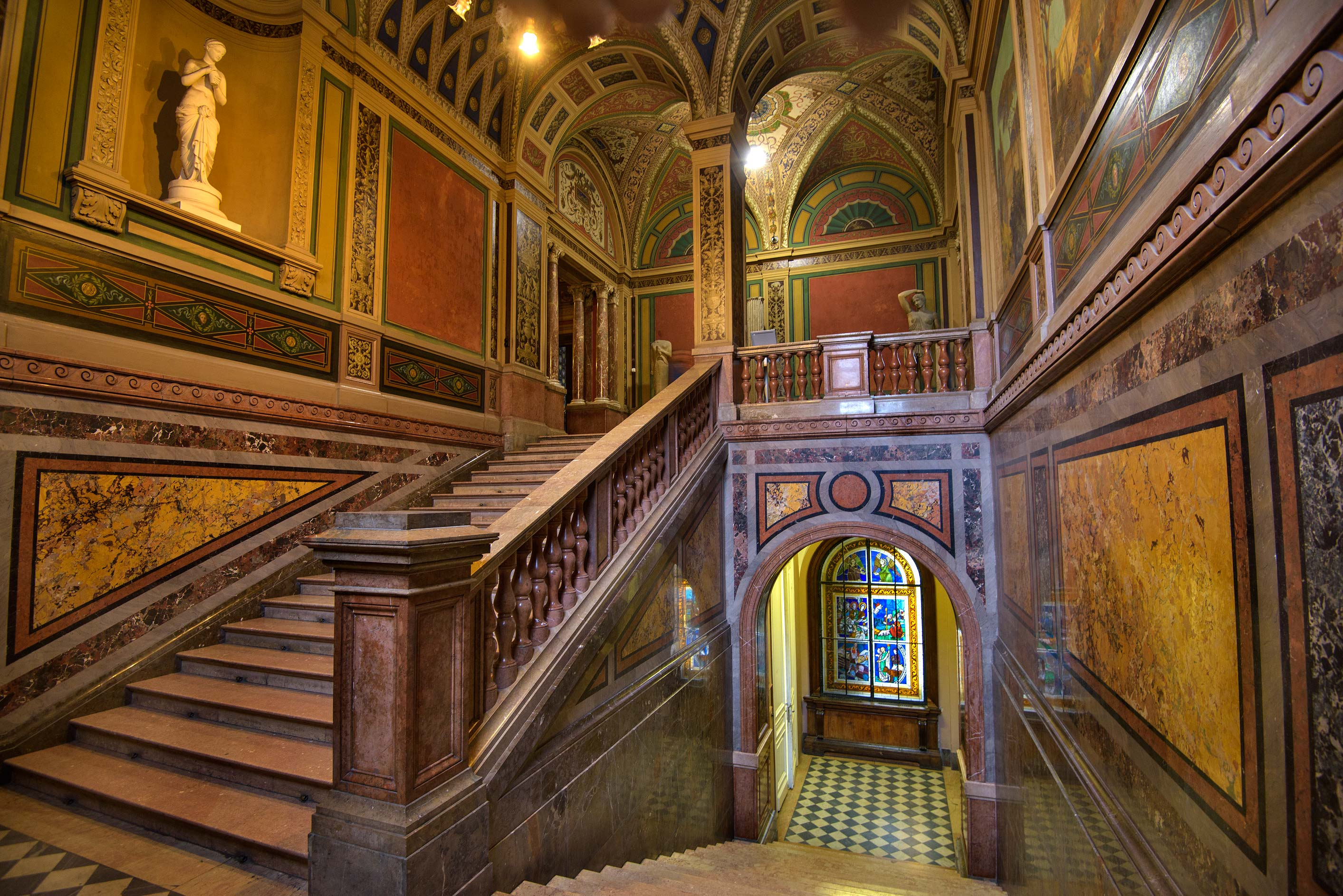 Marble staircase in Stieglitz Museum of Applied Arts. St.Petersburg, Russia