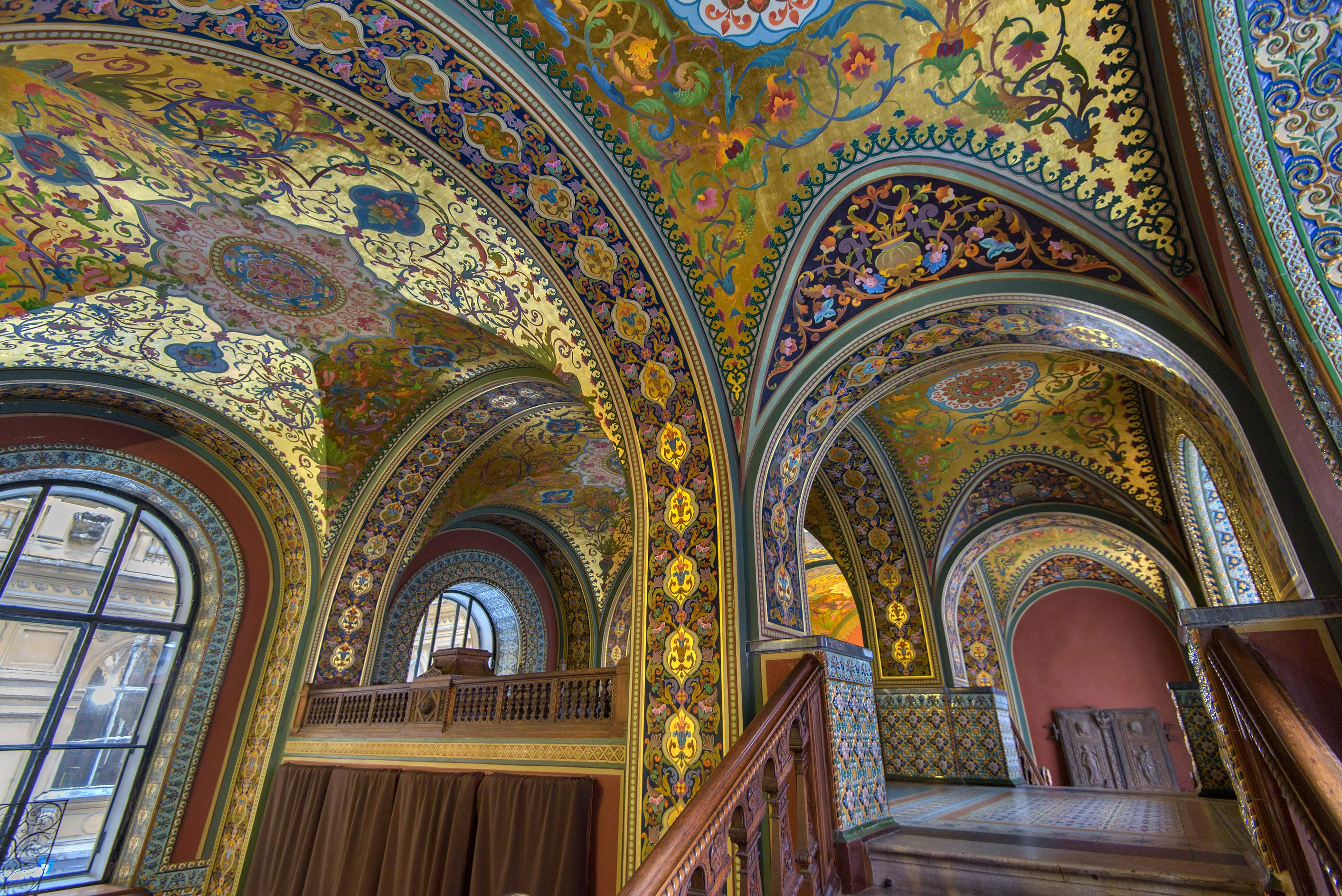Arched stairs of Russian Hall (Teremok) in...of Applied Arts. St.Petersburg, Russia