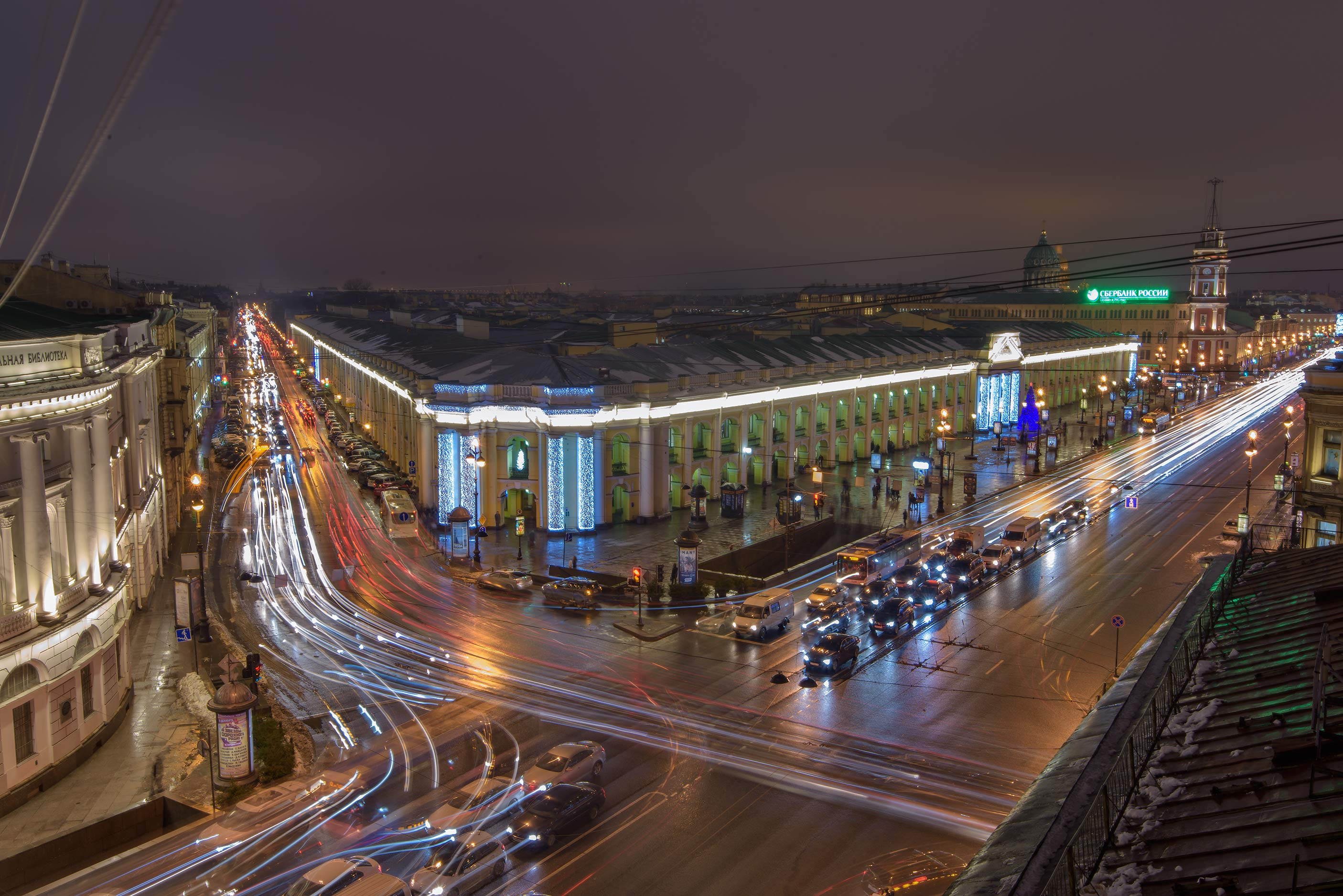 Corner of Nevsky Prospect and Sadovaya St. from Karl Bulla Museum. St.Petersburg, Russia