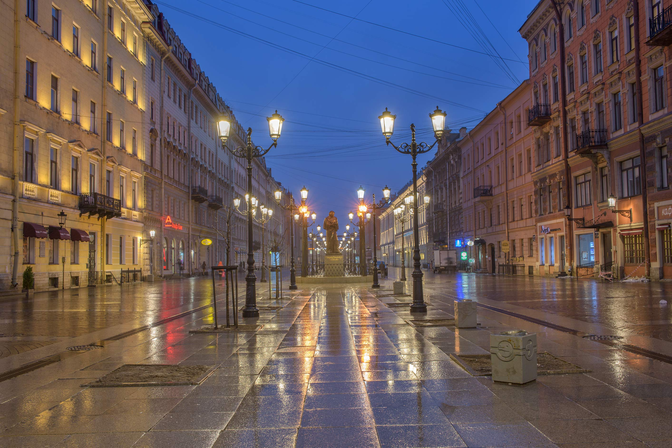 Lights of Malaya Konyushennaya St. from Nevsky Prospect. St.Petersburg, Russia