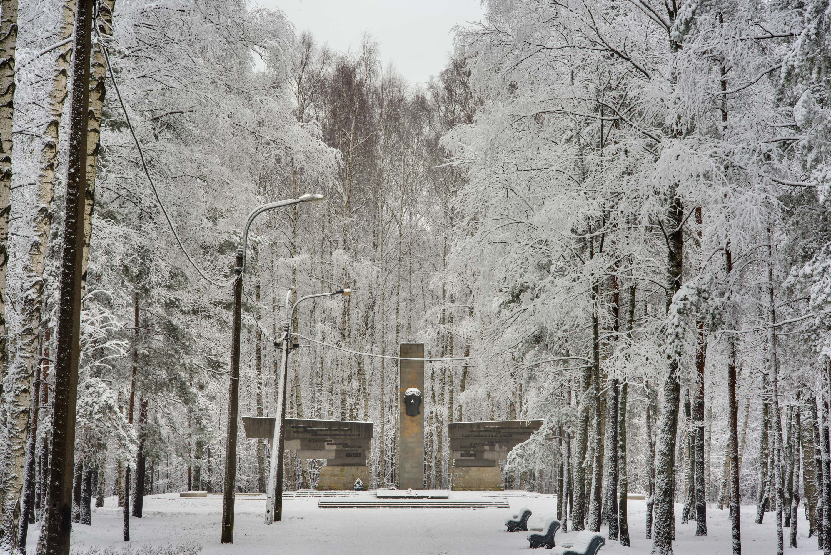 Pilot's memorial in fresh snow in Sosnovka Park. St.Petersburg, Russia