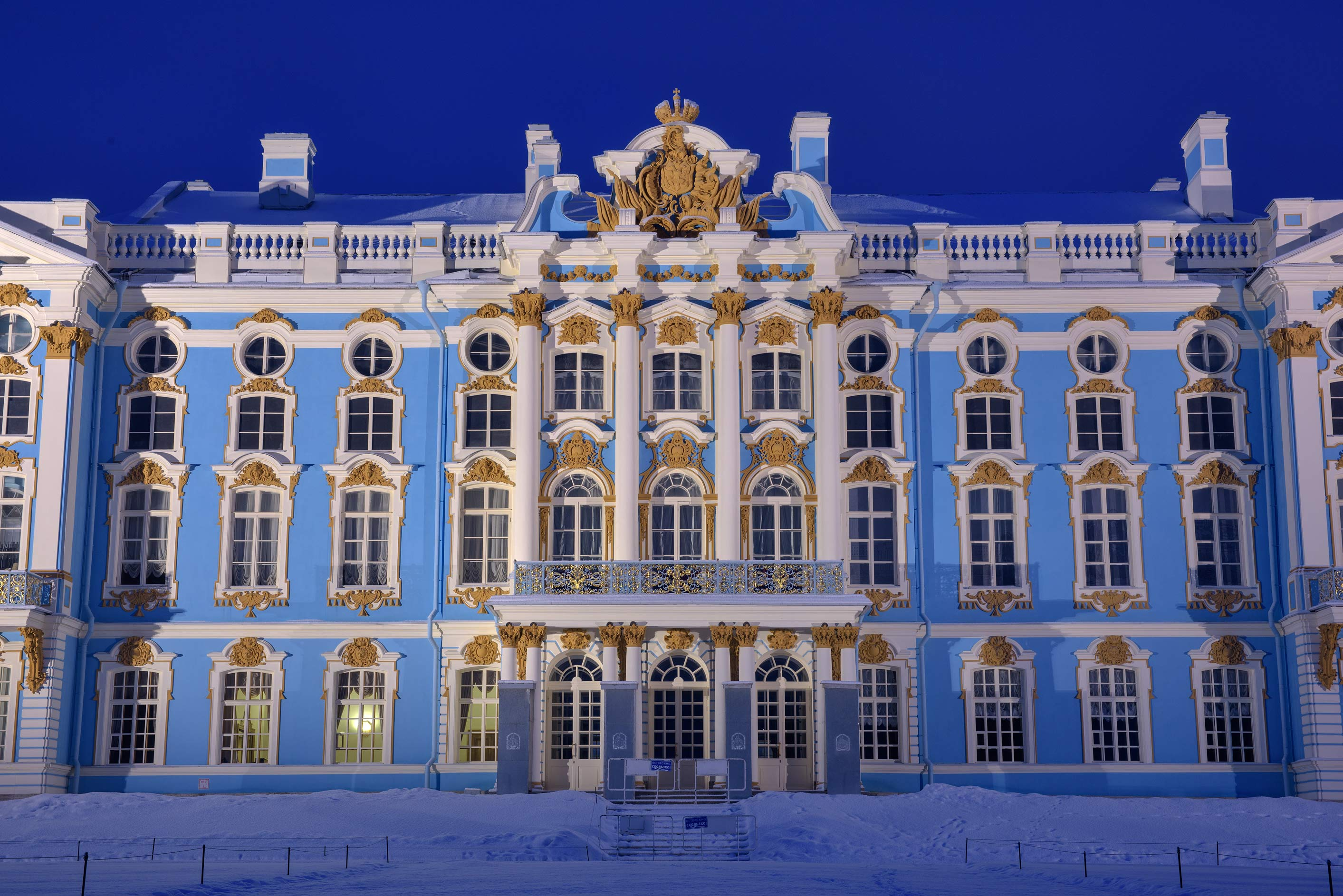Grand Palace at morning in Catherine Park...Selo) near St.Petersburg, Russia
