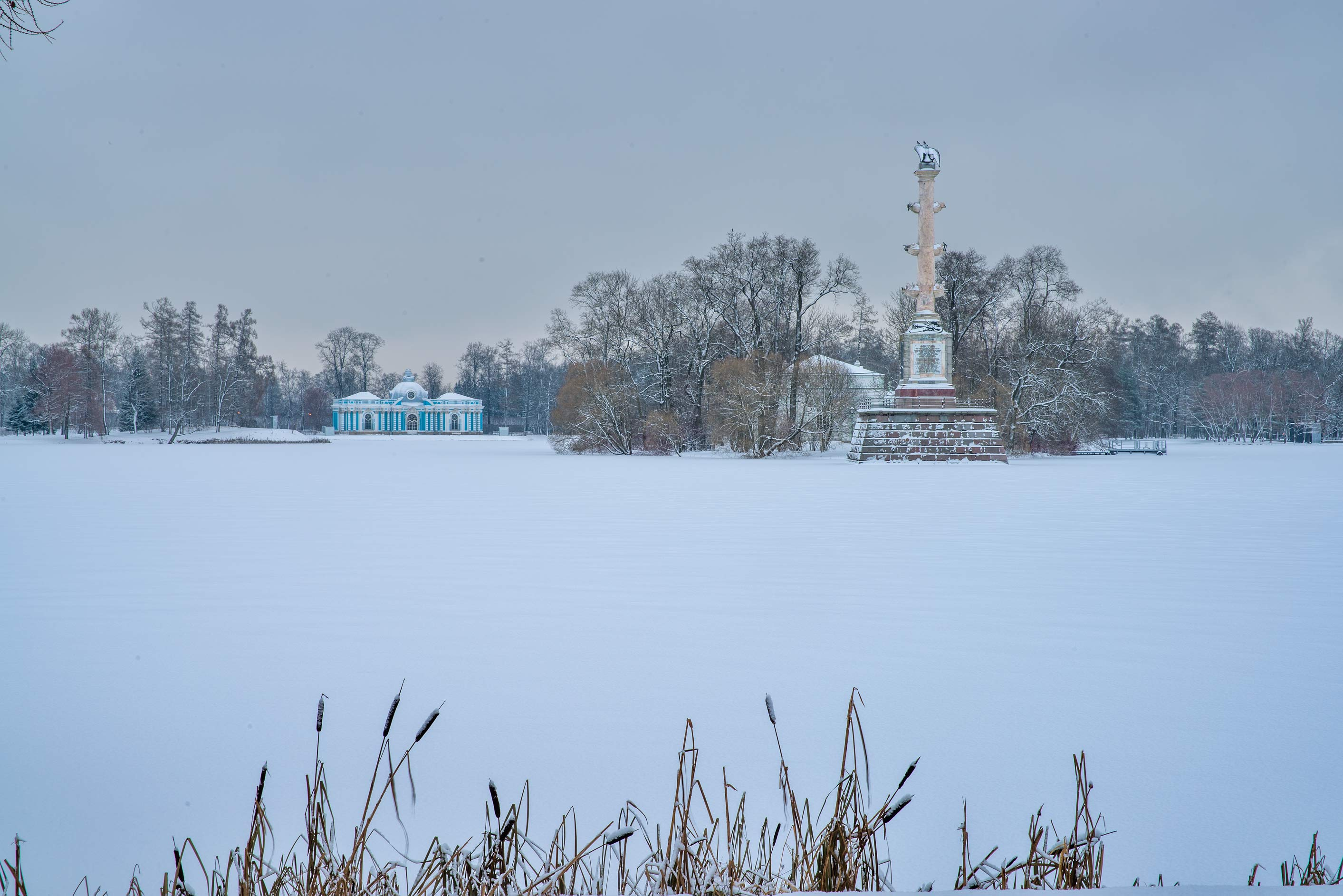 Grotto Pavilion and Chesma Pillar on Big Pond in...Selo) near St.Petersburg, Russia