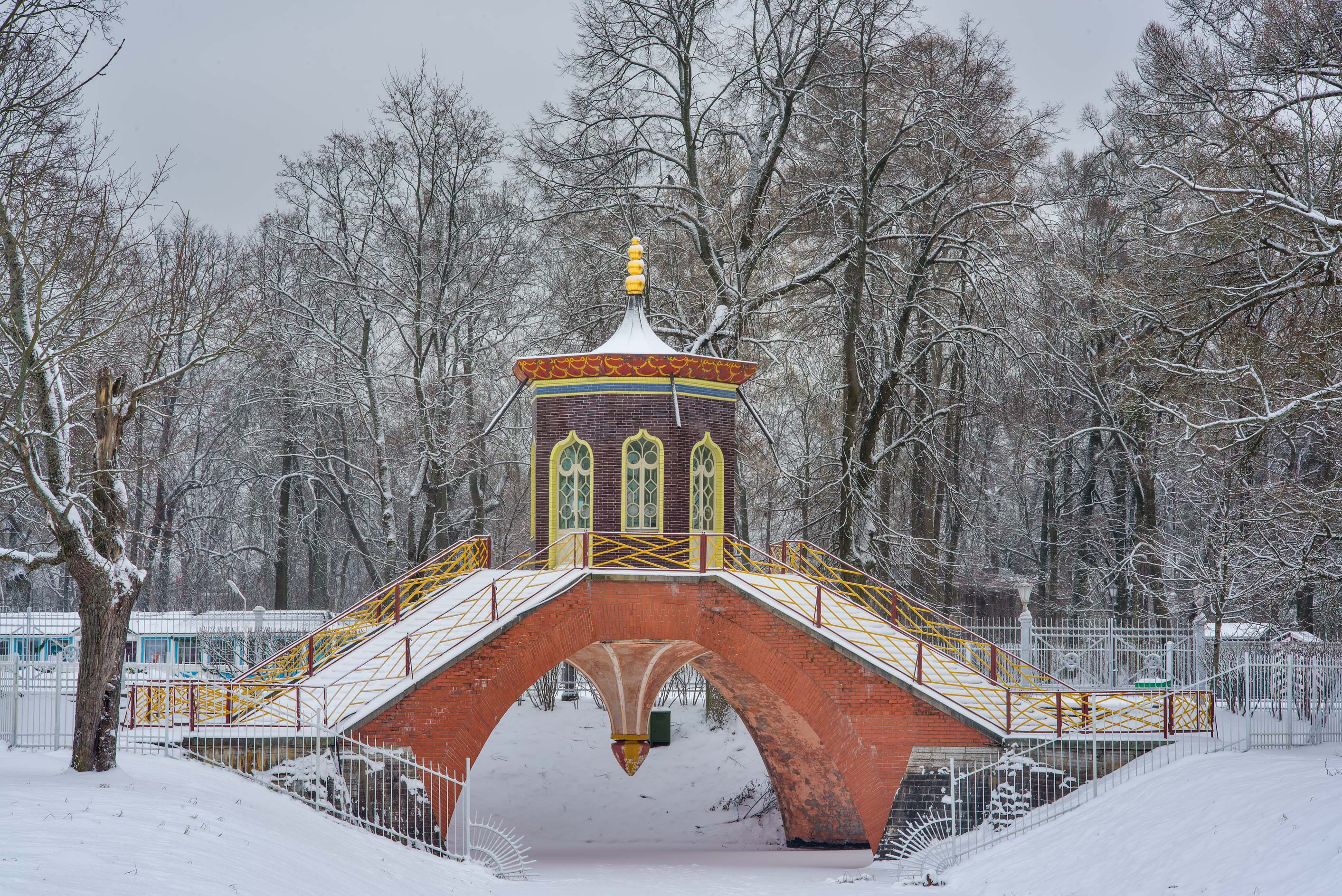Cross Bridge with a pergola in Catherine Park...Selo) near St.Petersburg, Russia