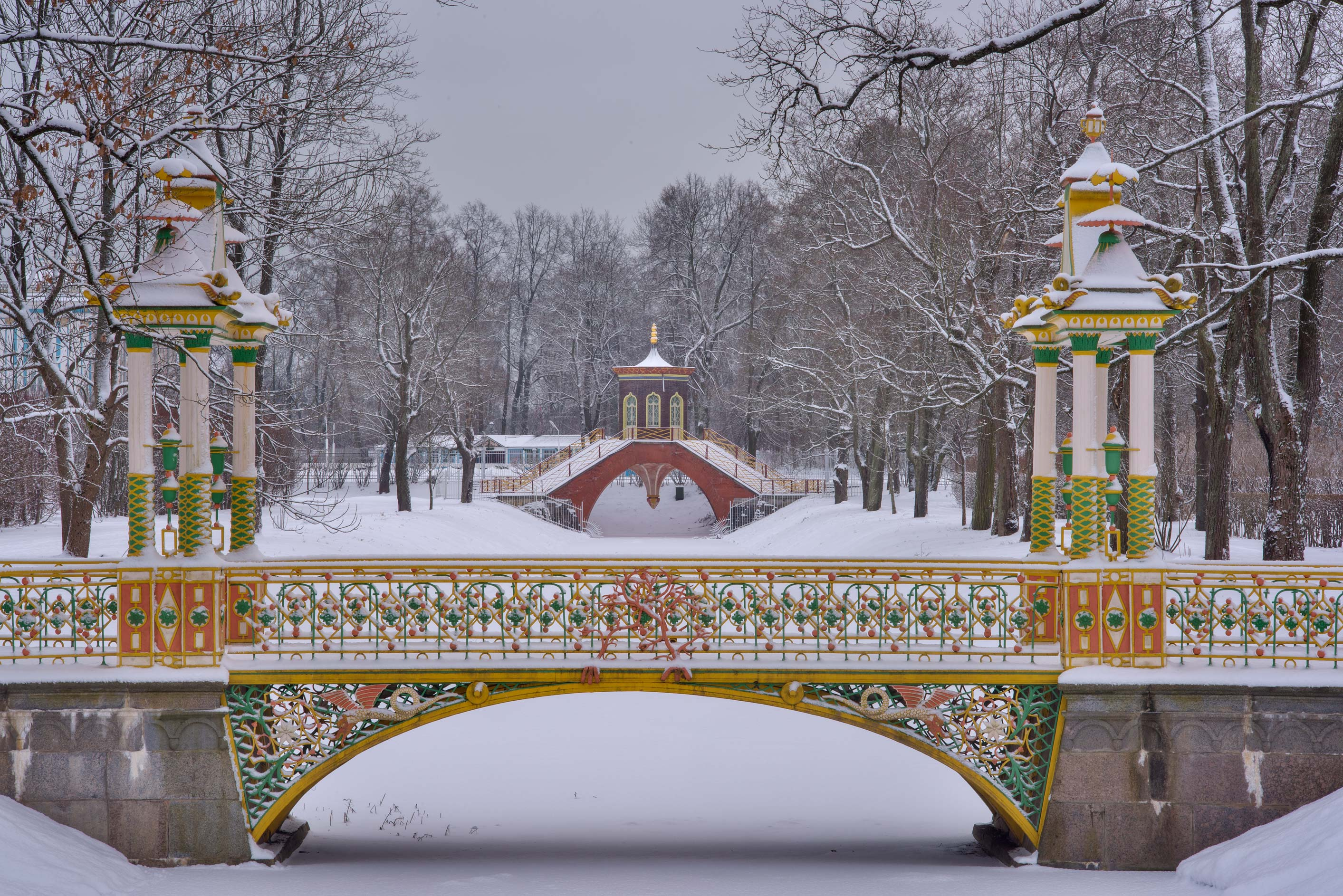 Chinese and Cross bridges in Alexander Park...Selo) near St.Petersburg, Russia