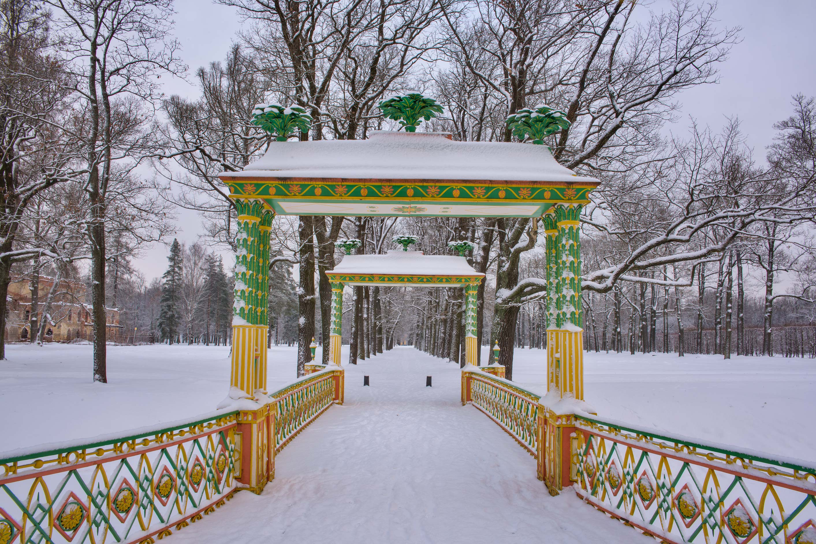 One of Chinese bridges in Alexander Park. Pushkin...Selo) near St.Petersburg, Russia