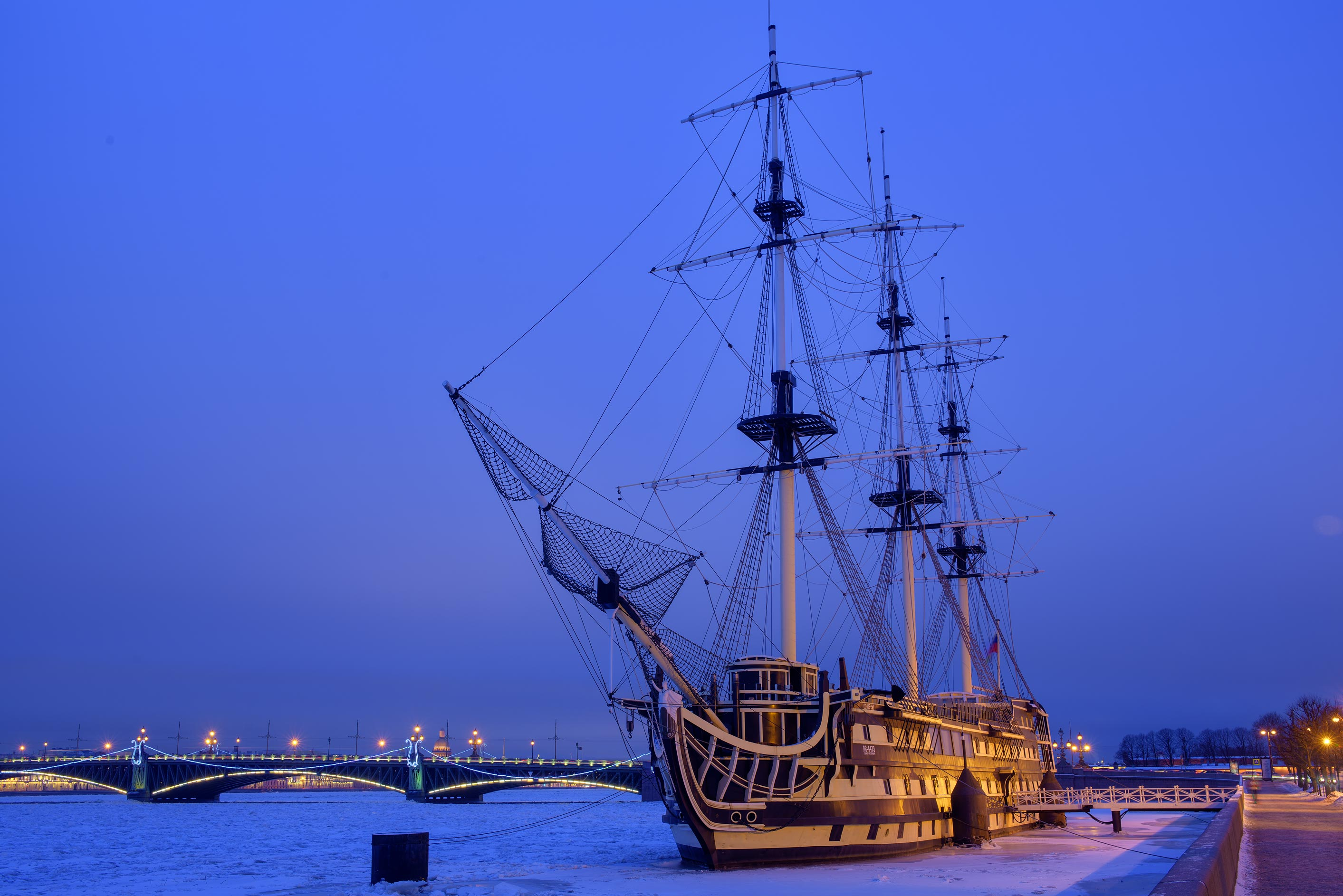 Frigate Blagodat at morning. St.Petersburg, Russia