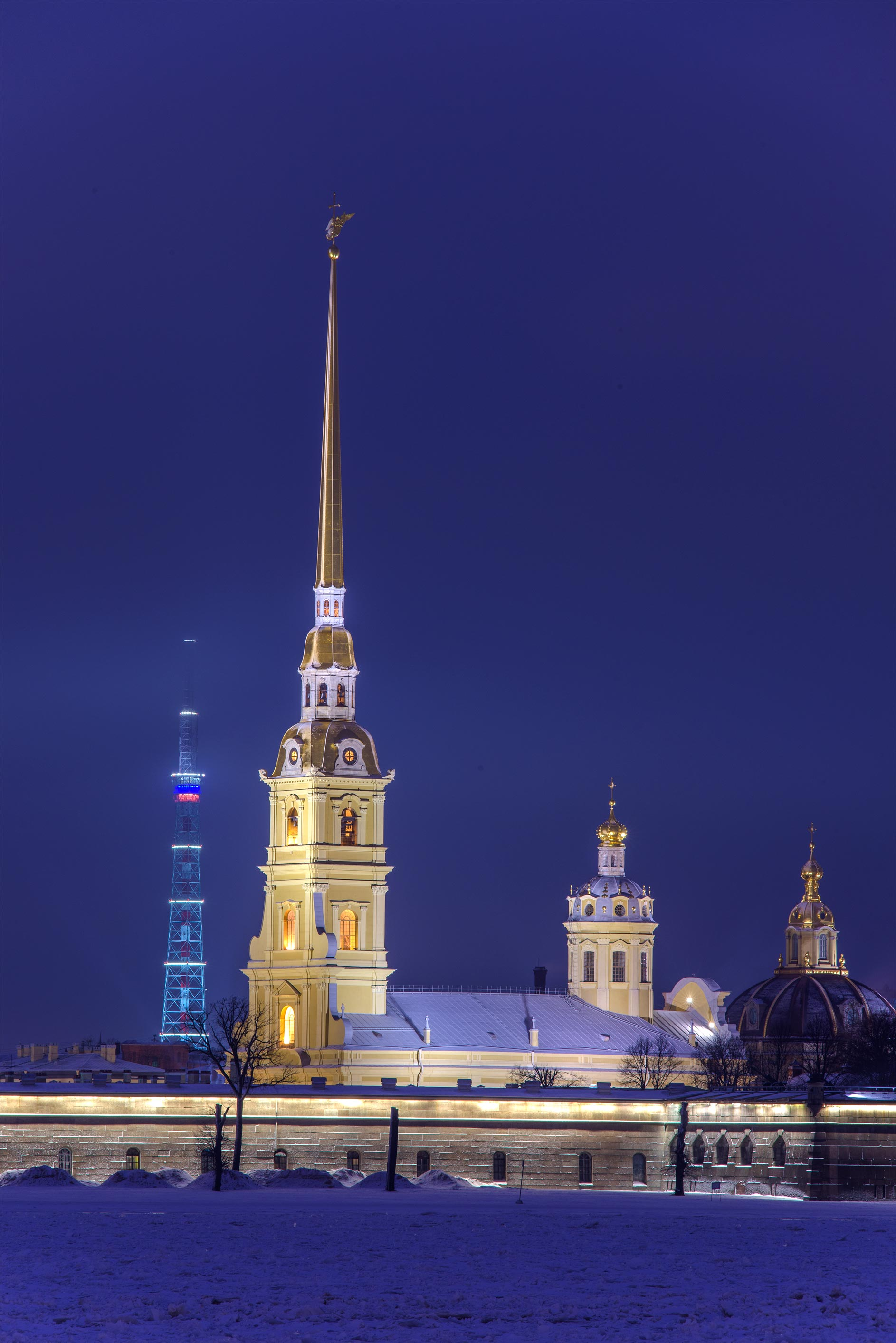Peter and Paul Cathedral from Palace Embankment. St.Petersburg, Russia