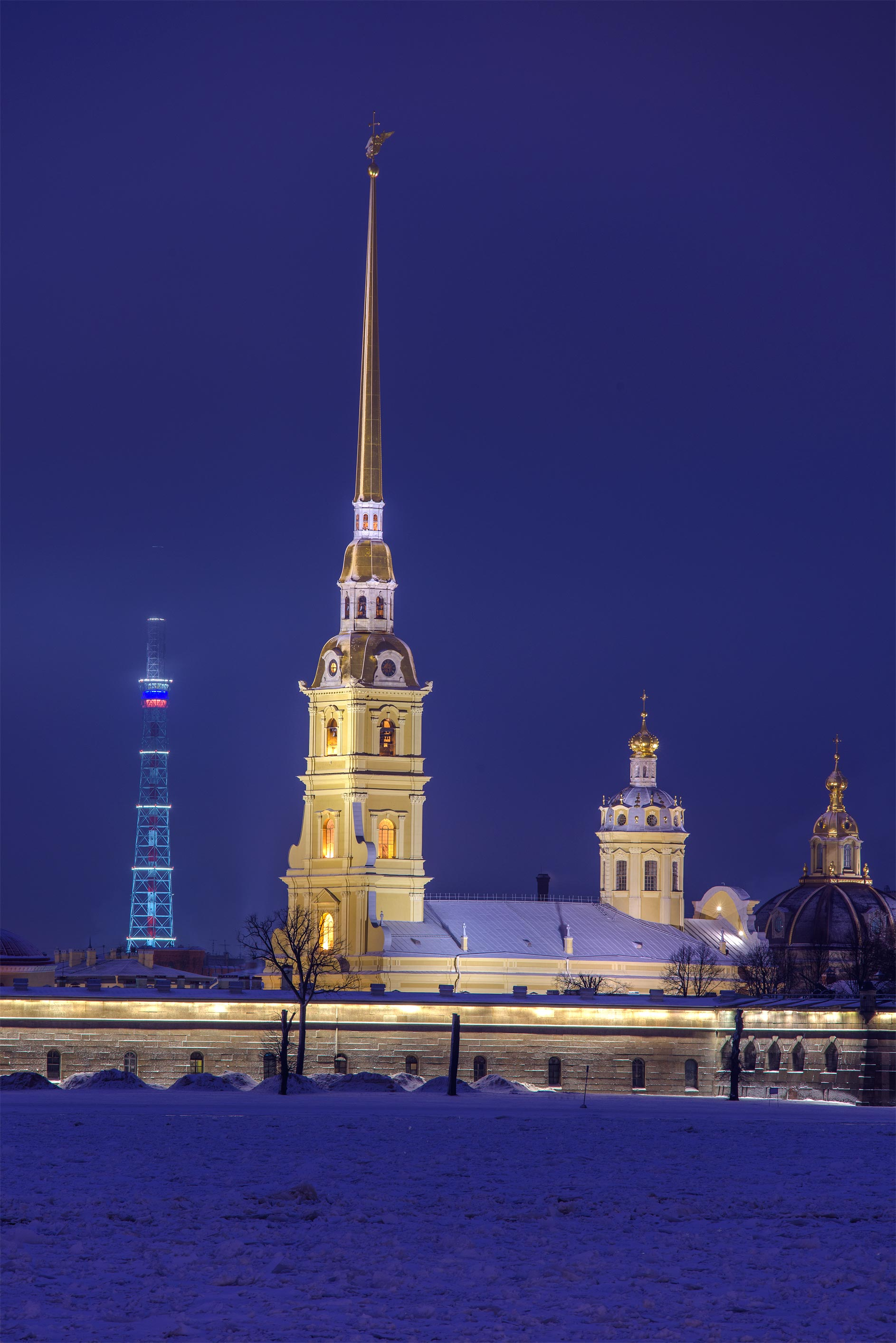 Peter and Paul Cathedral and TV Tower from Palace Embankment. St.Petersburg, Russia