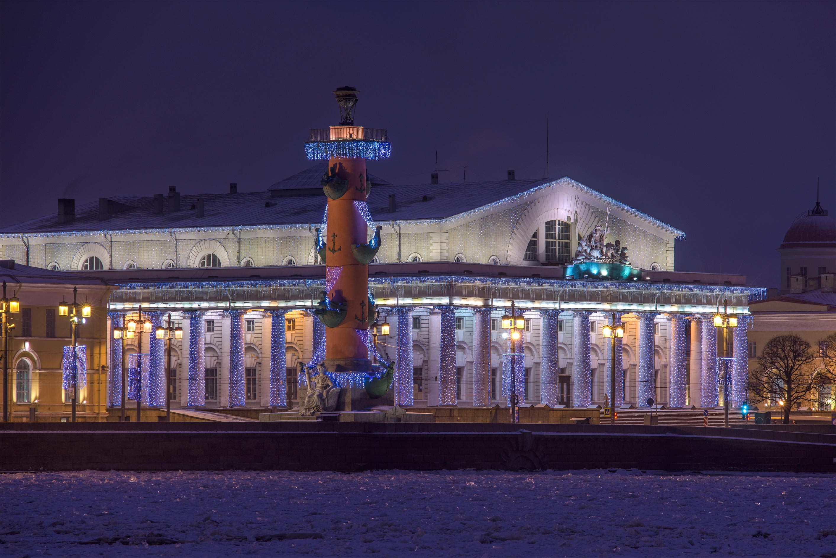 Rostral Column and Stock Exchange on a spit of...Embankment. St.Petersburg, Russia