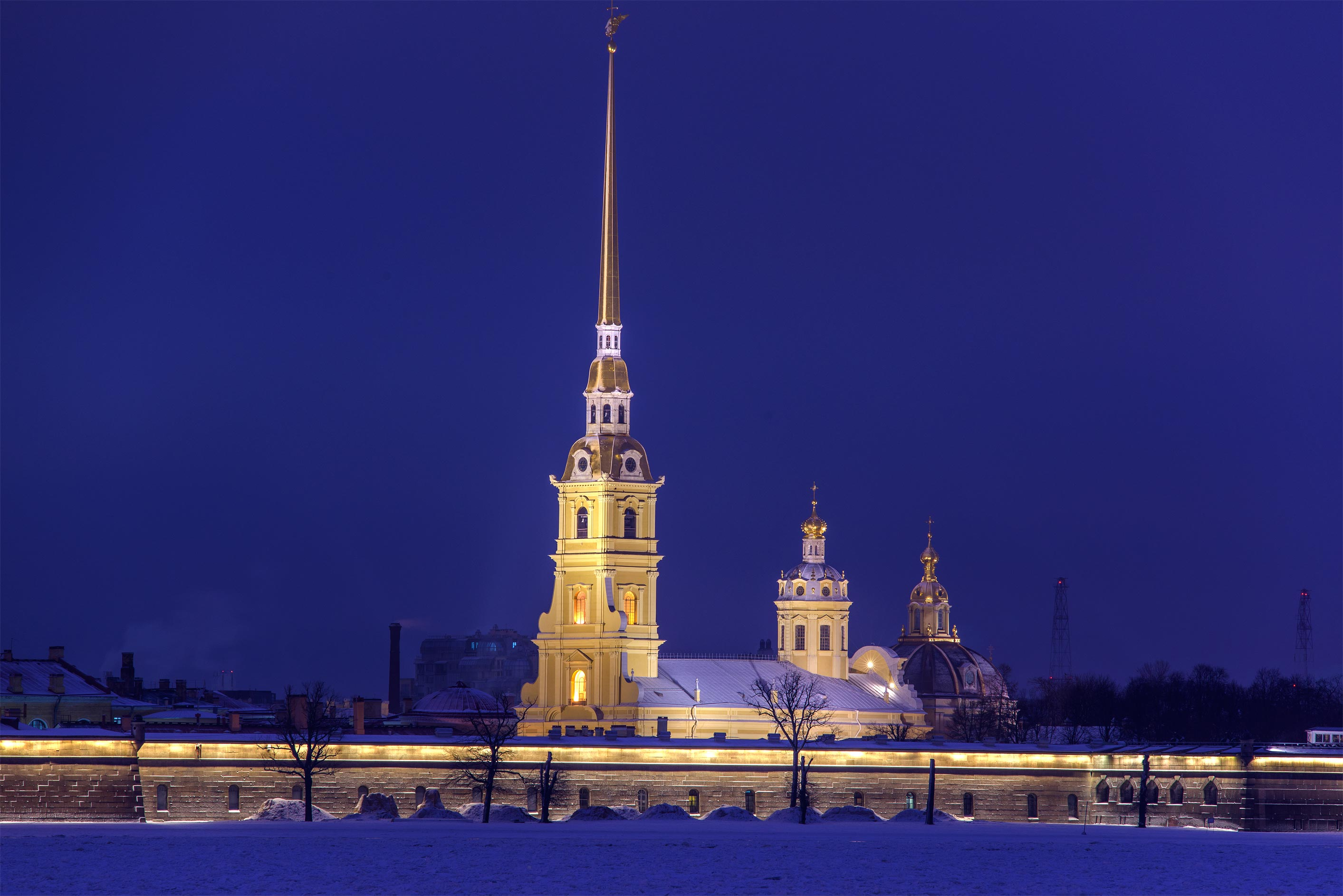 Peter and Paul Fortress from Palace Embankment at morning. St.Petersburg, Russia