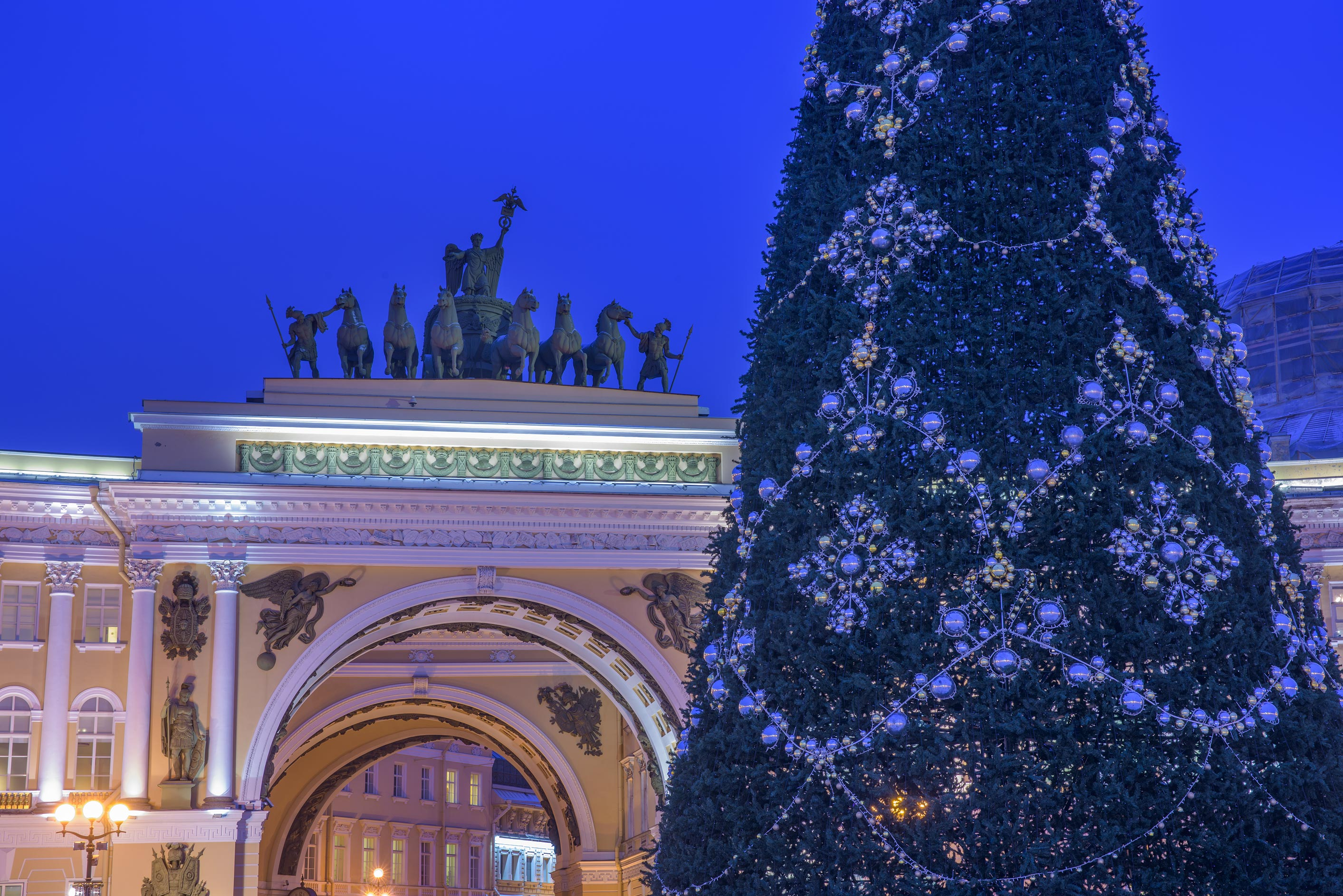 Arch of General Staff and a Christmas tree at morning. St.Petersburg, Russia