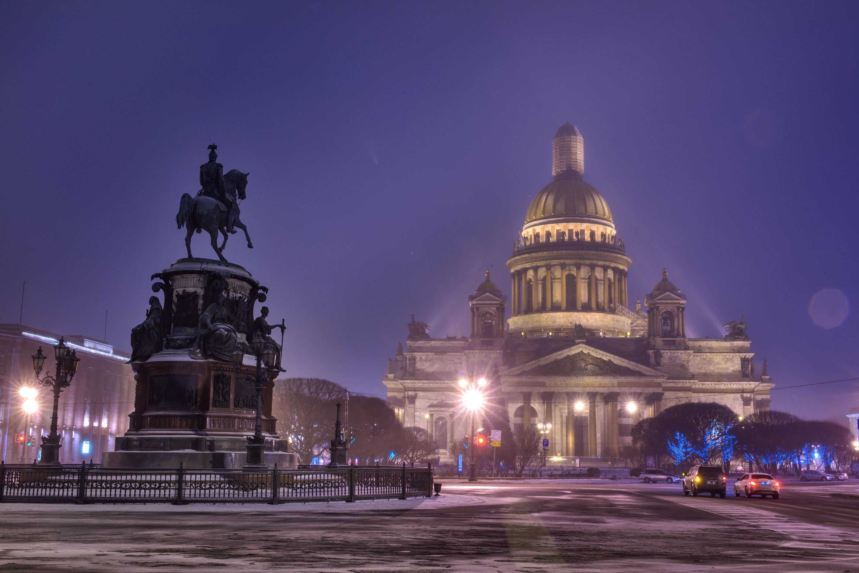 St. Isaac Cathedral and Nicholas I monument from Blue Bridge. St.Petersburg, Russia