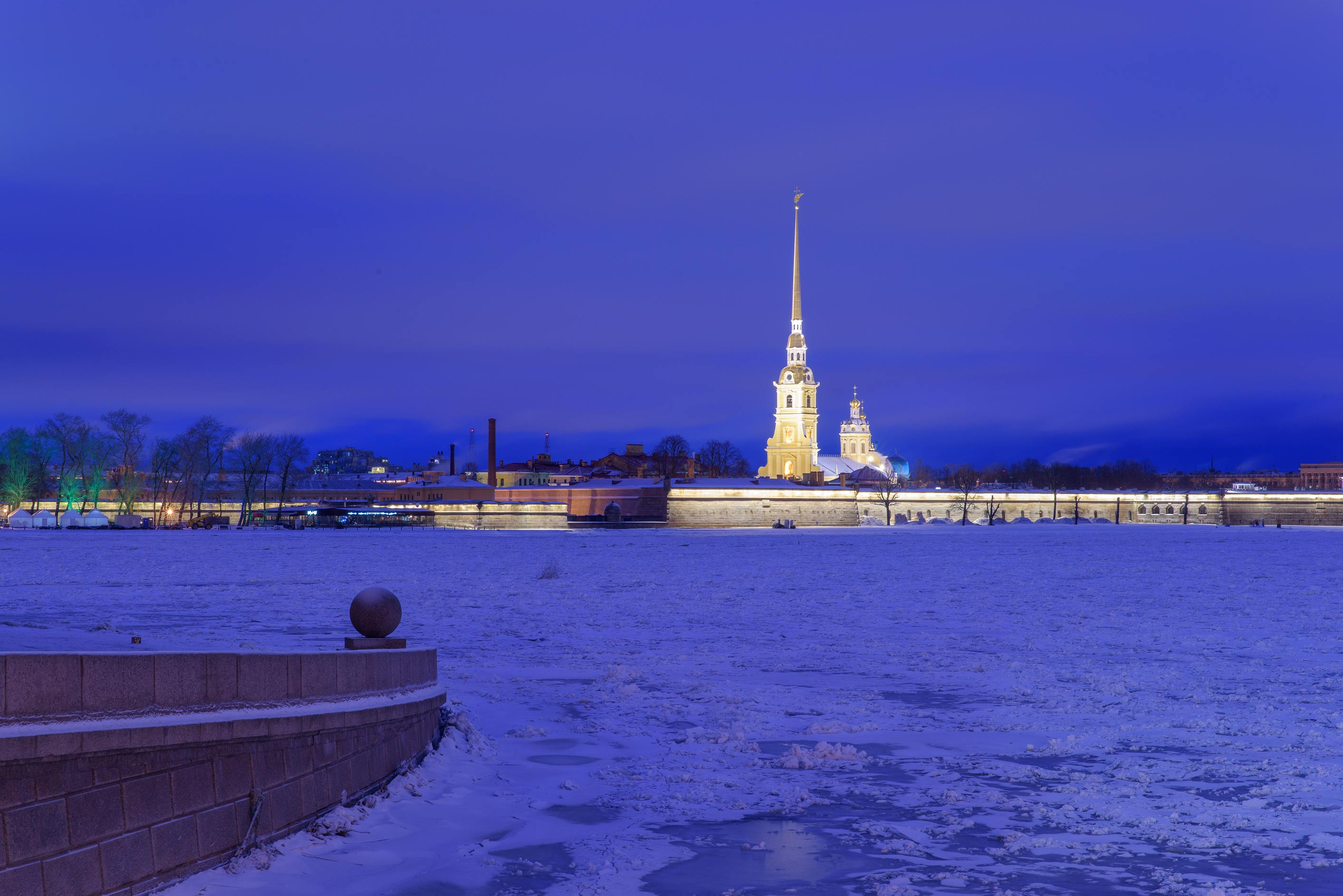 Peter and Paul Fortress from a spit of Vasilievsky Island. St.Petersburg, Russia