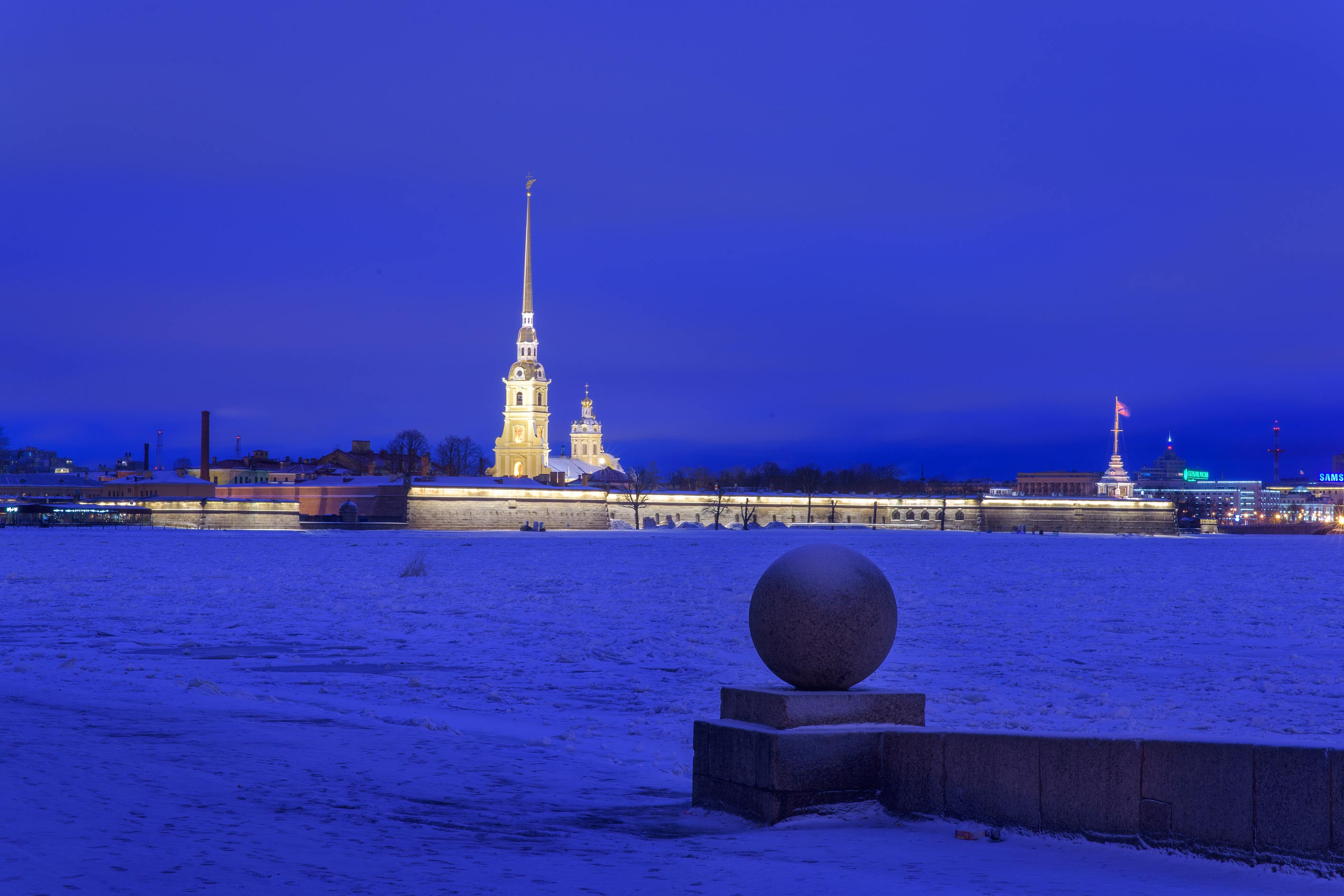Peter and Paul Cathedral from a water approach on...Island. St.Petersburg, Russia