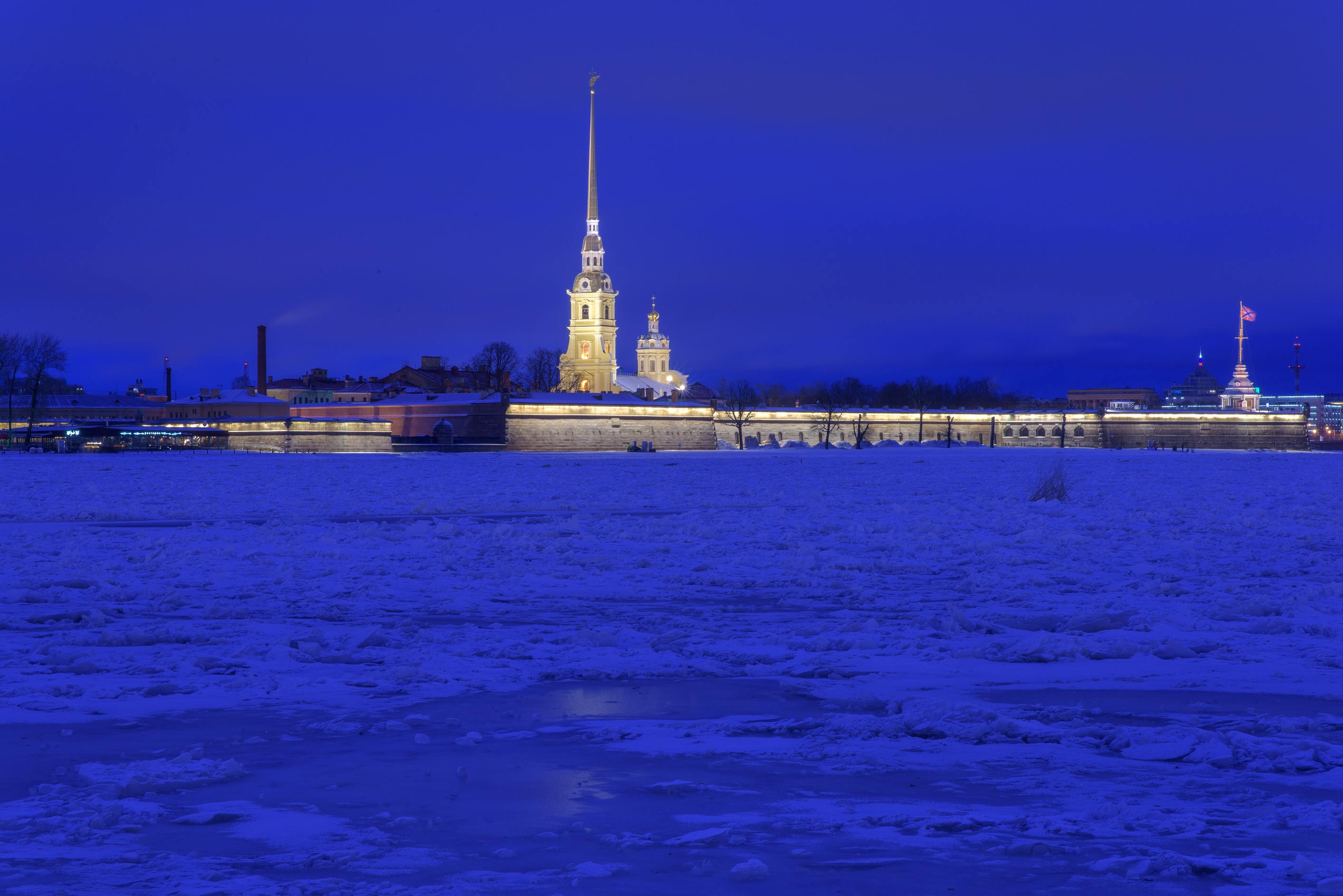 Peter and Paul Fortress from a water approach on...at morning. St.Petersburg, Russia
