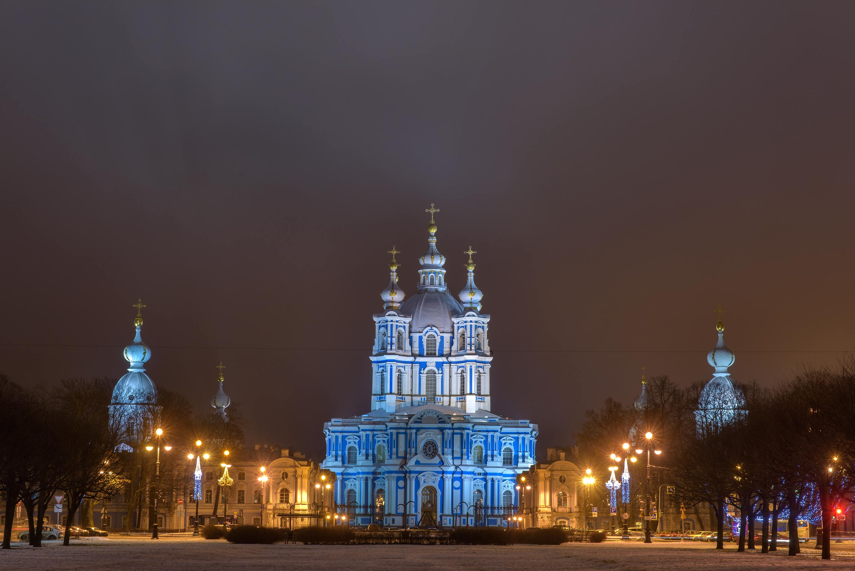 Smolny Cathedral from a square. St.Petersburg, Russia