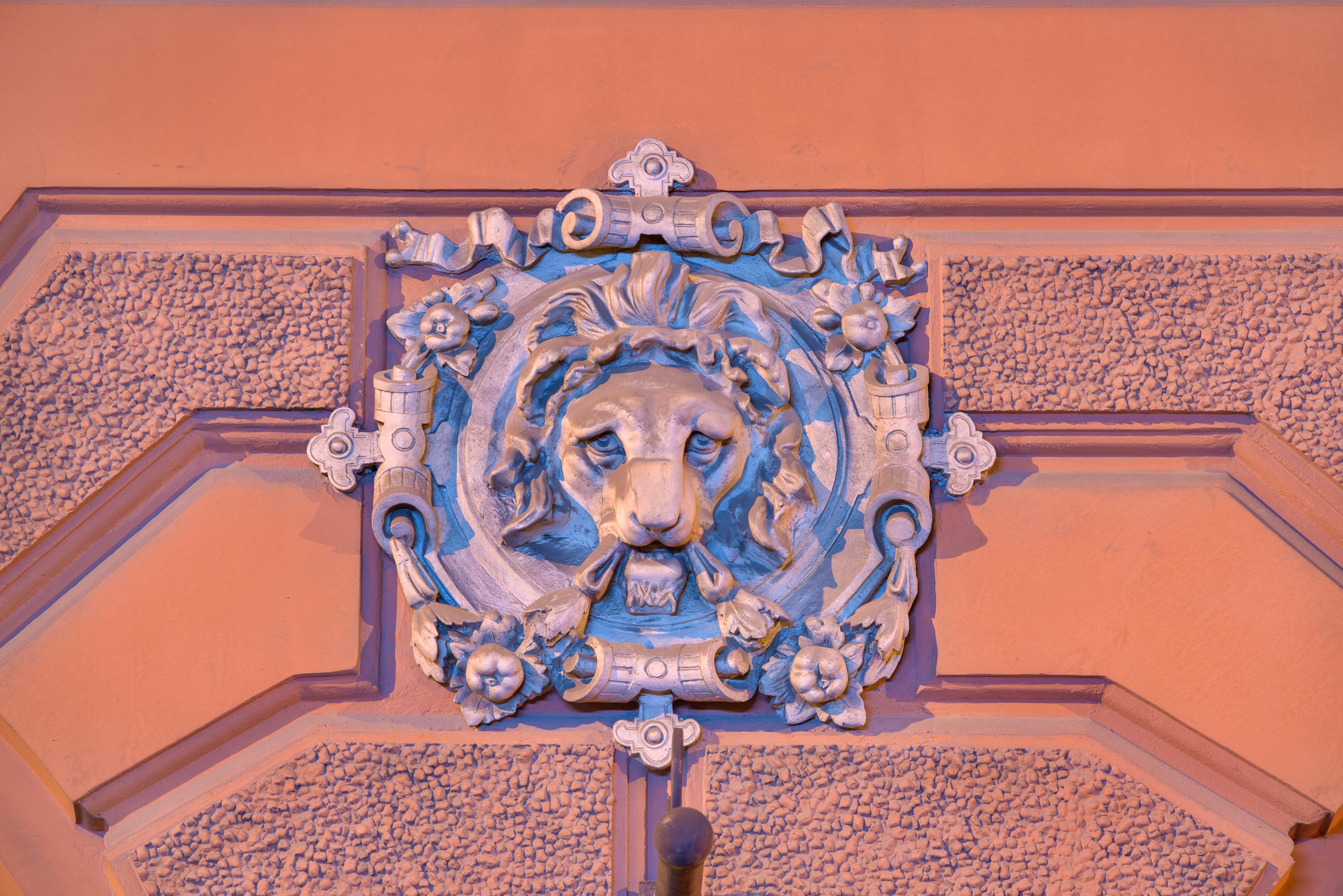 Lion's face on Bankovsky Pereulok. St.Petersburg, Russia