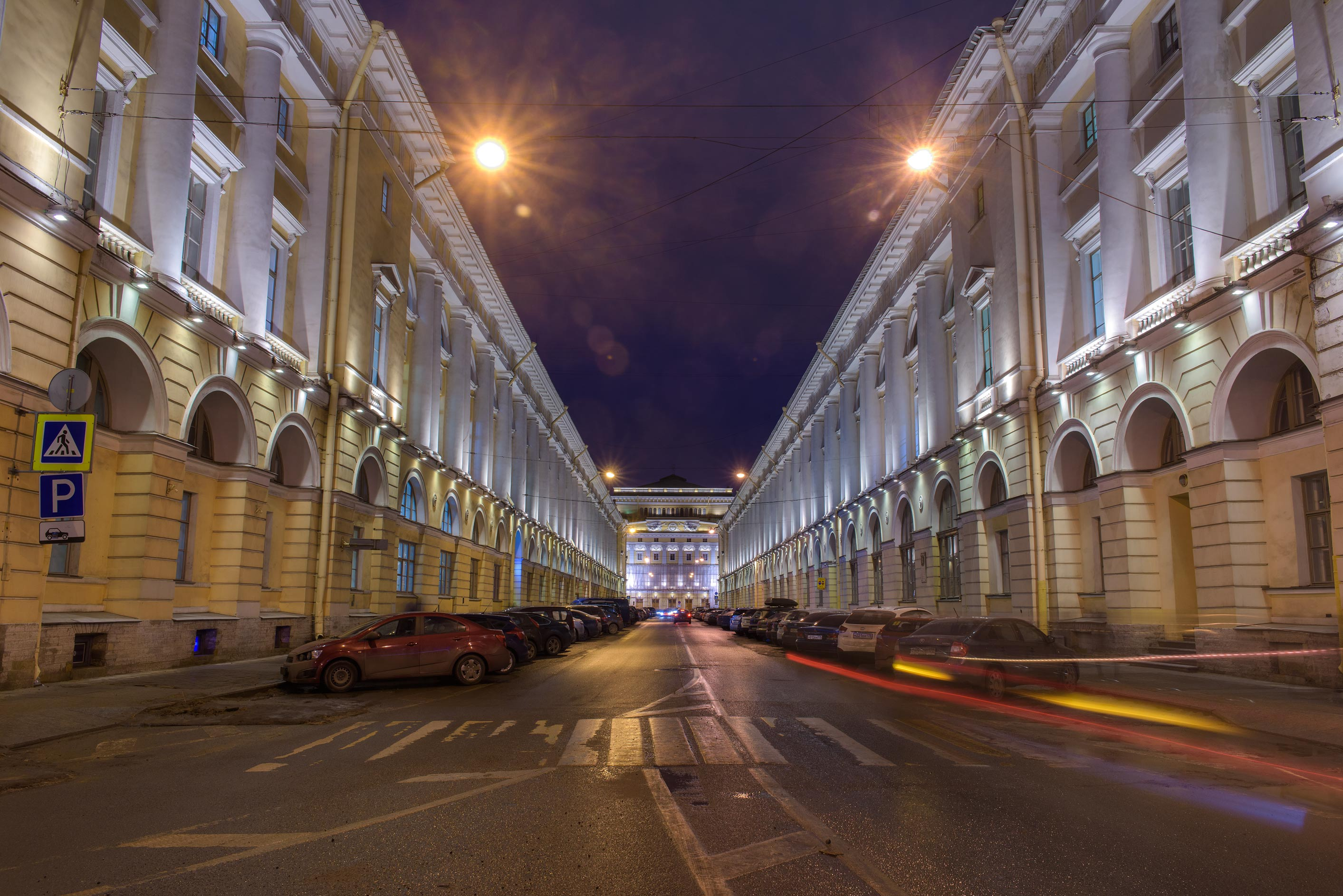 Zodchego Rossi St. at morning. St.Petersburg, Russia