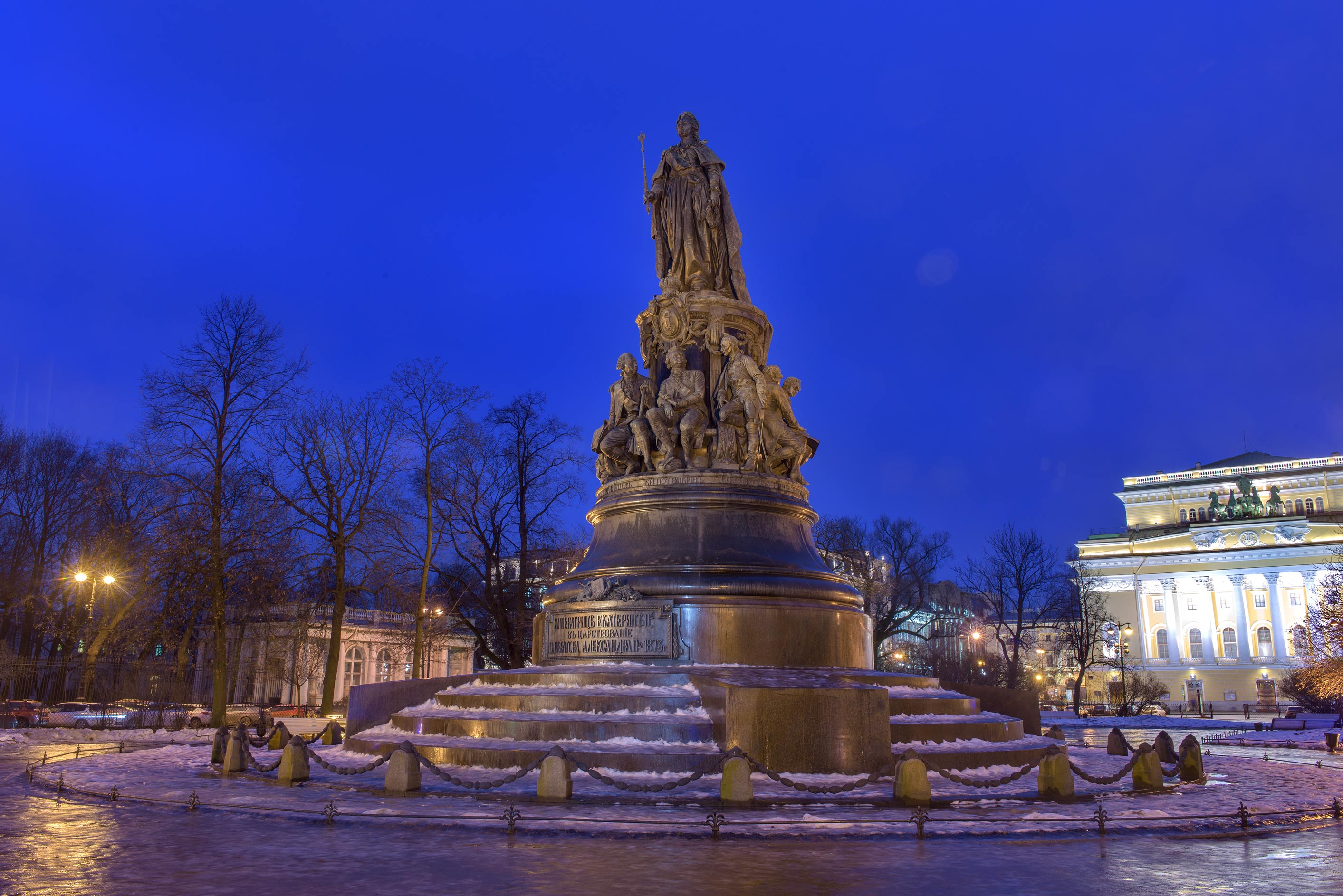 Monument of Catherine II on Ostrovskogo Square. St.Petersburg, Russia
